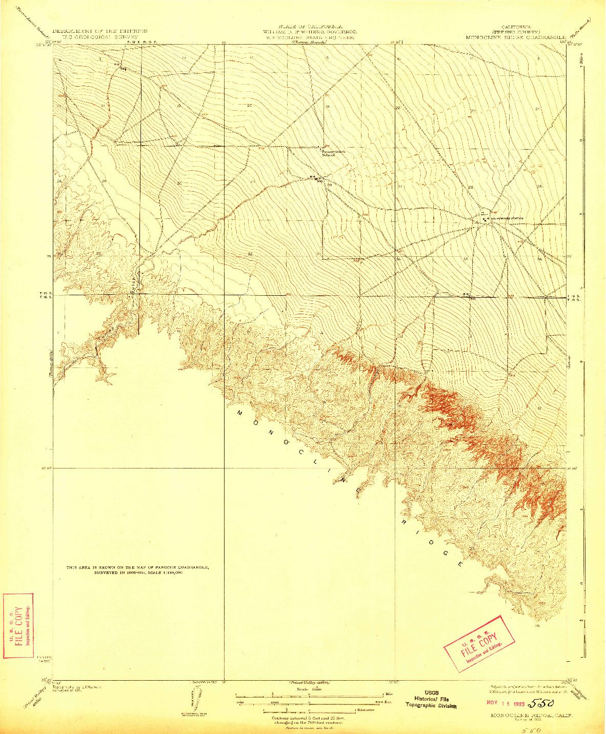 USGS 1:31680-SCALE QUADRANGLE FOR MONOCLINE RIDGE, CA 1923