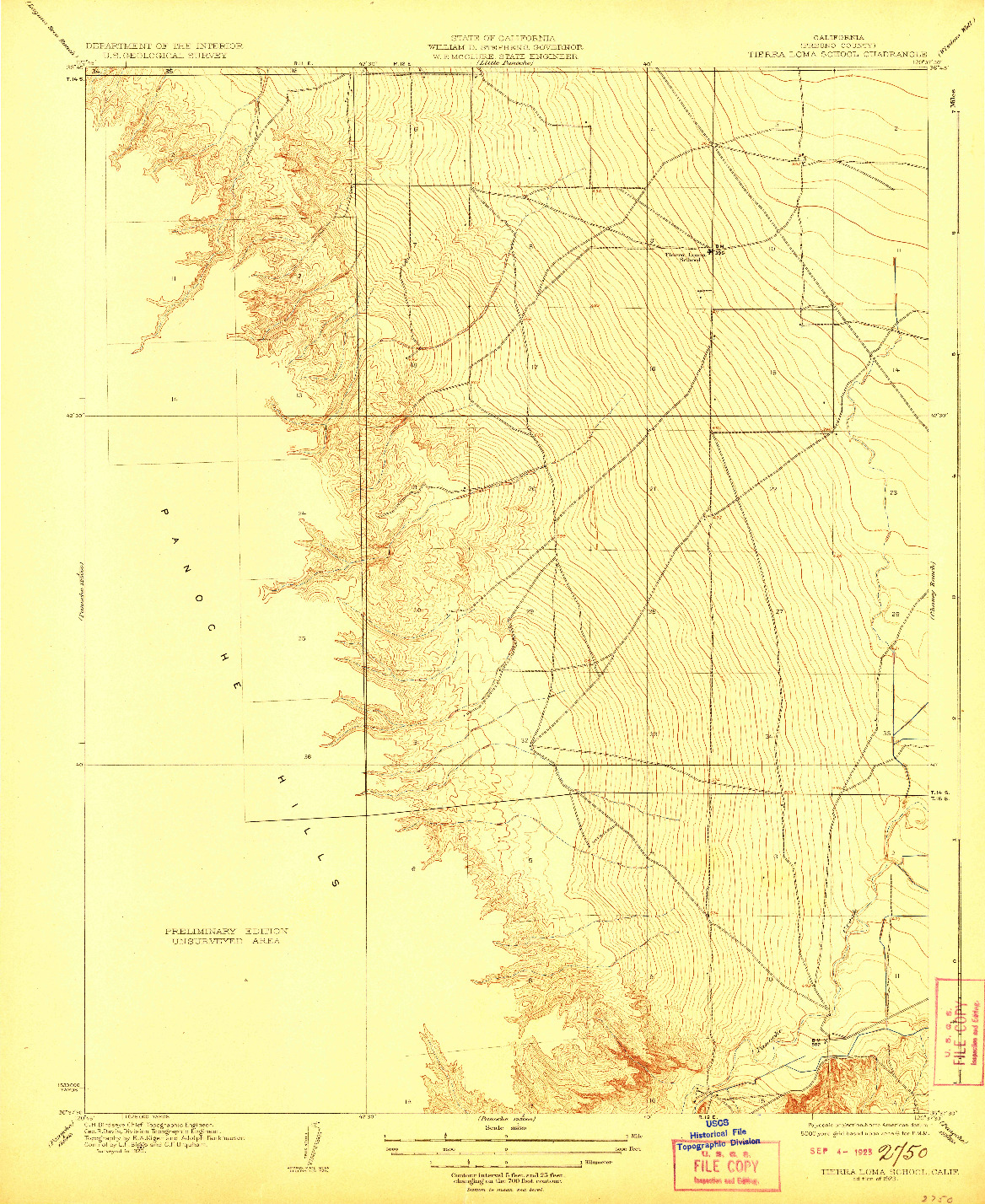 USGS 1:31680-SCALE QUADRANGLE FOR TIERRA LOMA SCHOOL, CA 1923