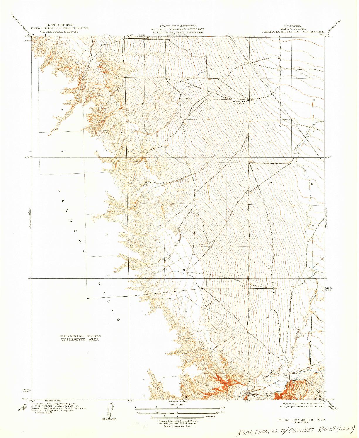 USGS 1:31680-SCALE QUADRANGLE FOR TIERRA LOMA SCHOOL, CA 1923