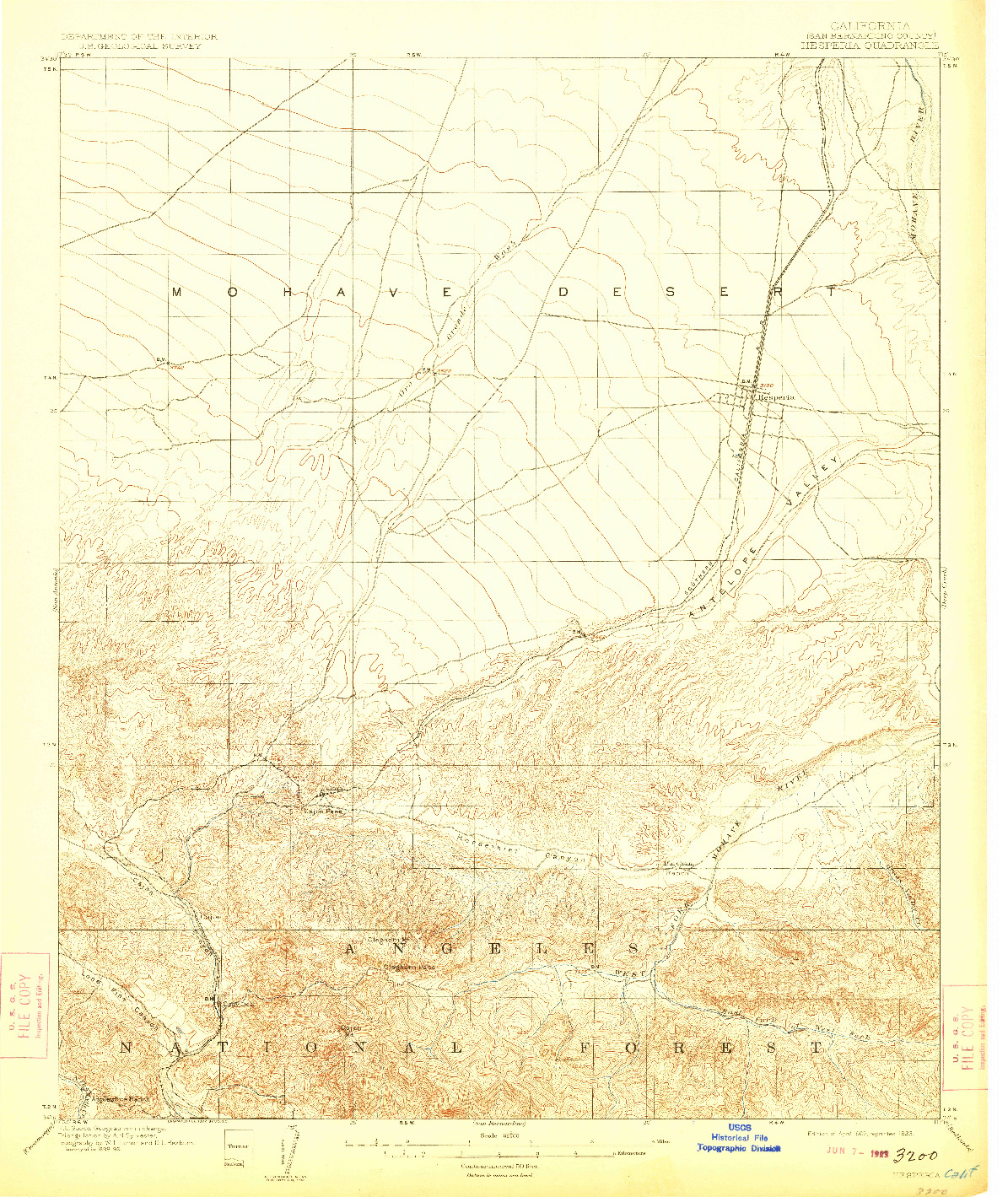 USGS 1:62500-SCALE QUADRANGLE FOR HESPERIA, CA 1902