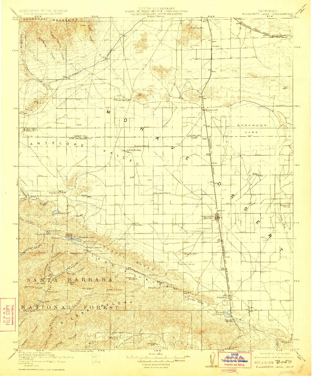 USGS 1:125000-SCALE QUADRANGLE FOR ELIZABETH LAKE, CA 1917