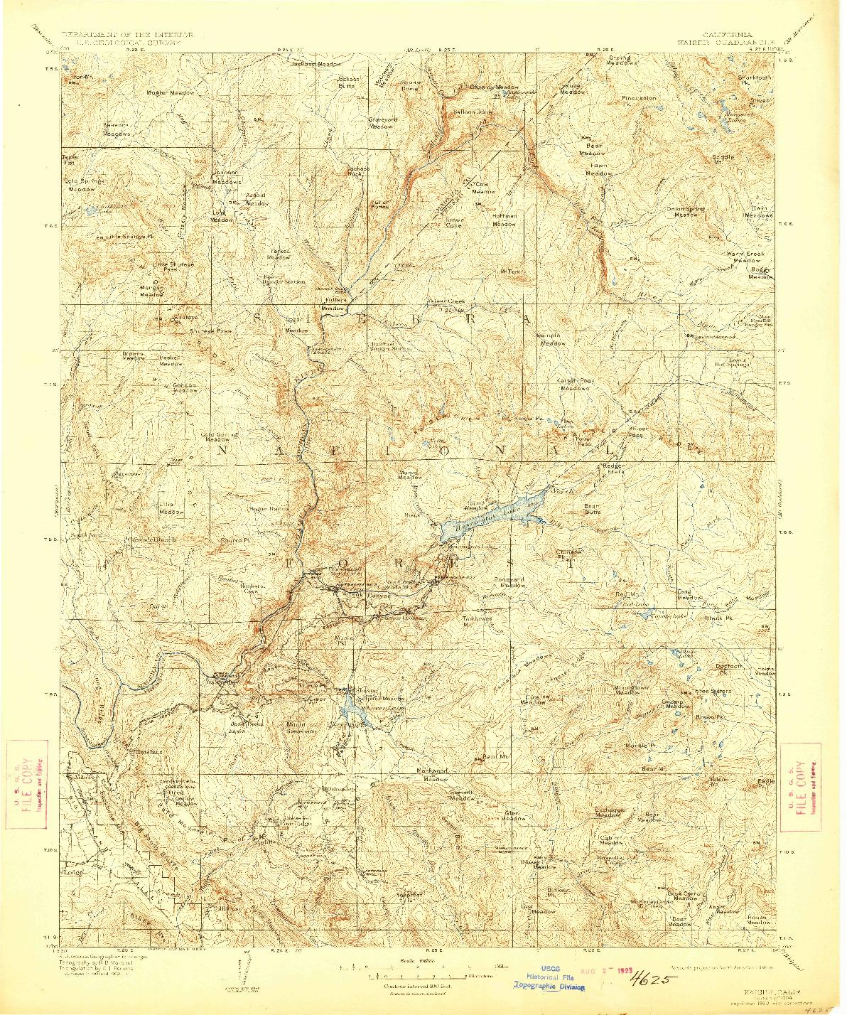 USGS 1:125000-SCALE QUADRANGLE FOR KAISER, CA 1904