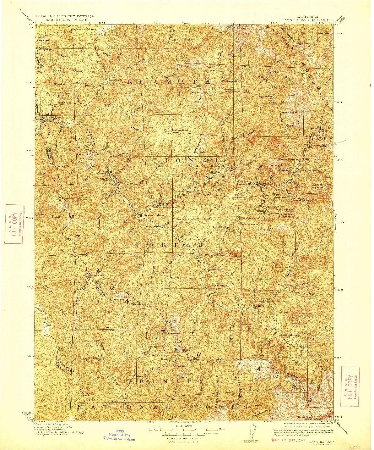 USGS 1:125000-SCALE QUADRANGLE FOR SAWYERS BAR, CA 1923