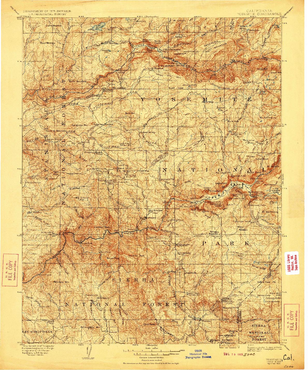USGS 1:125000-SCALE QUADRANGLE FOR YOSEMITE, CA 1909
