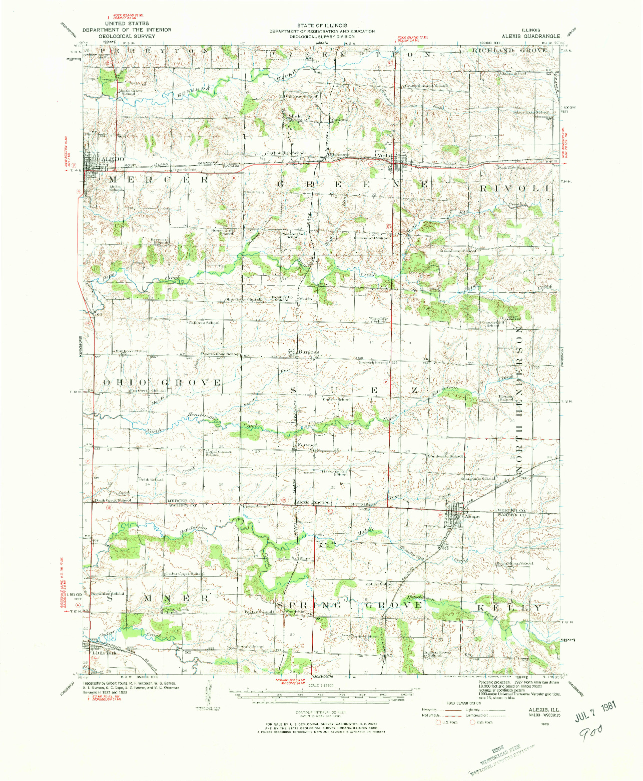 USGS 1:62500-SCALE QUADRANGLE FOR ALEXIS, IL 1923