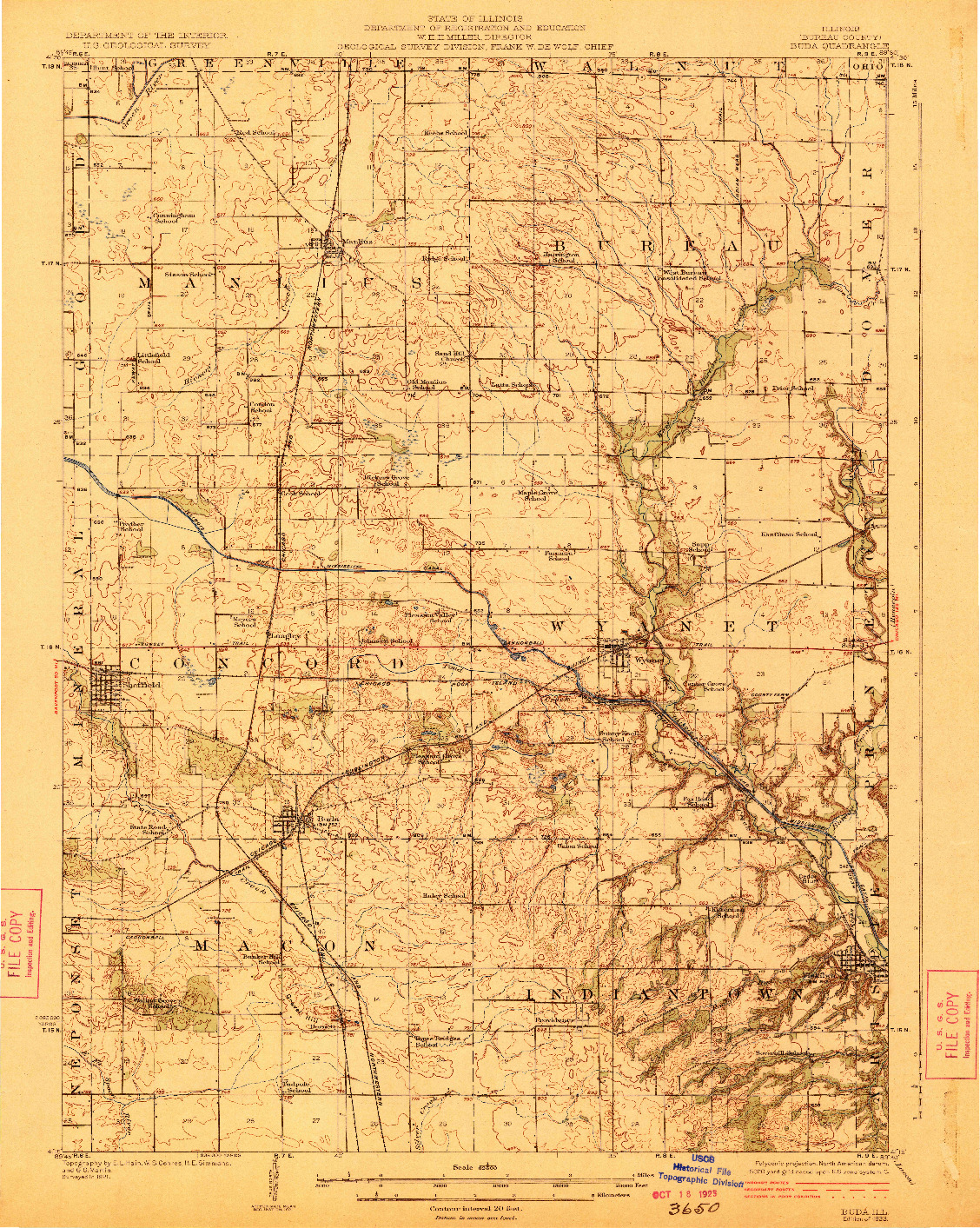 USGS 1:62500-SCALE QUADRANGLE FOR BUDA, IL 1923