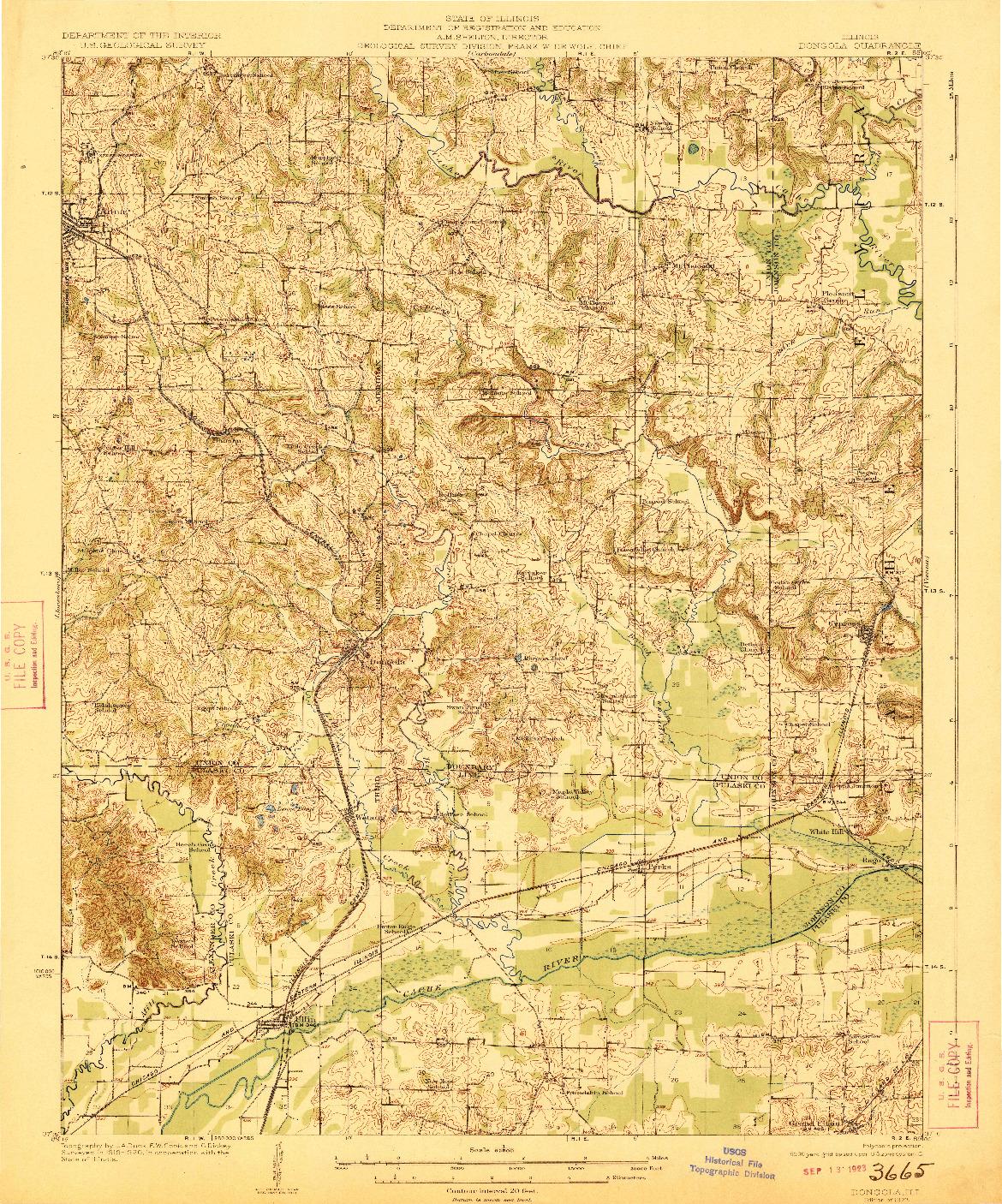 USGS 1:62500-SCALE QUADRANGLE FOR DONGOLA, IL 1923