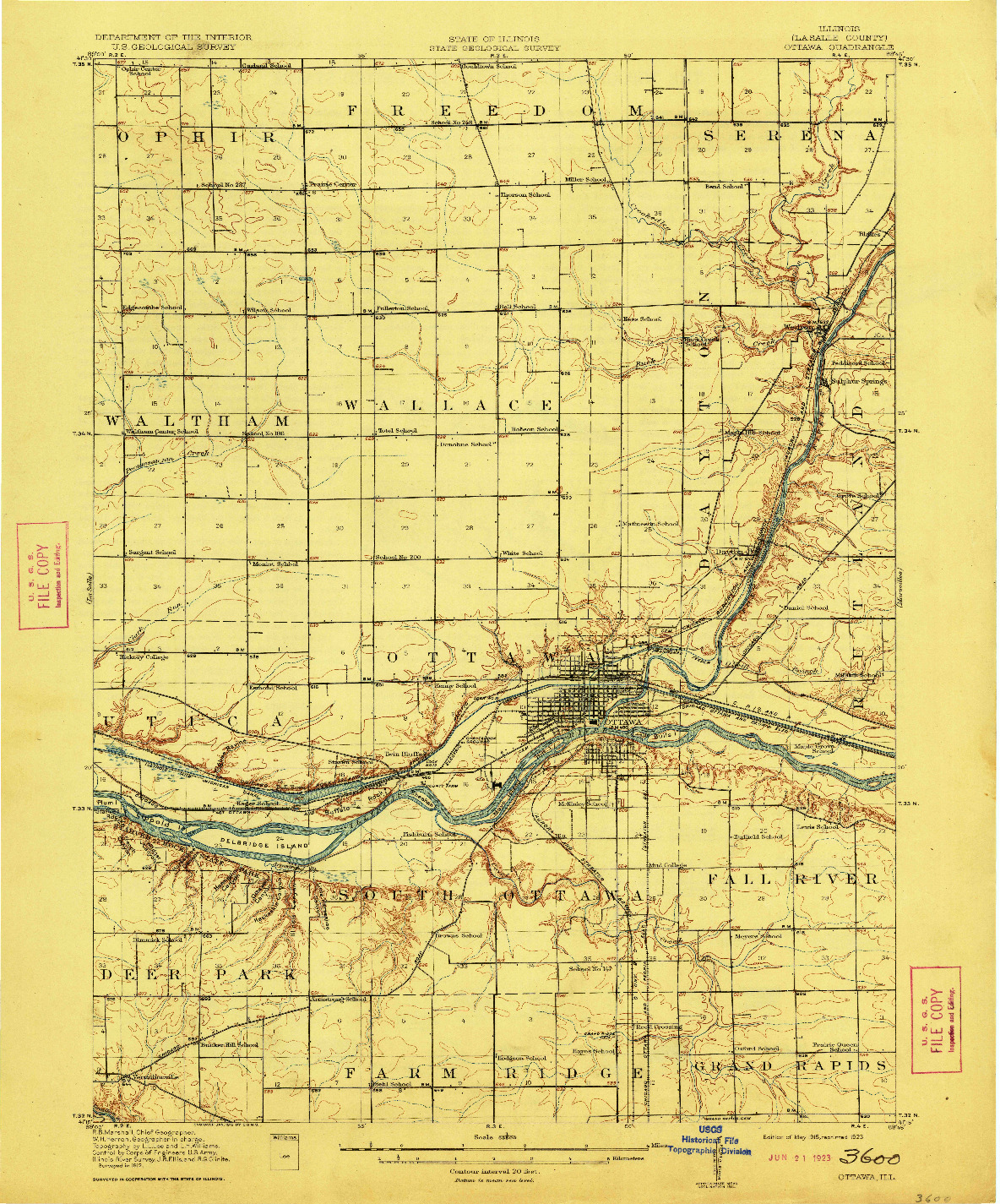 USGS 1:62500-SCALE QUADRANGLE FOR OTTAWA, IL 1915