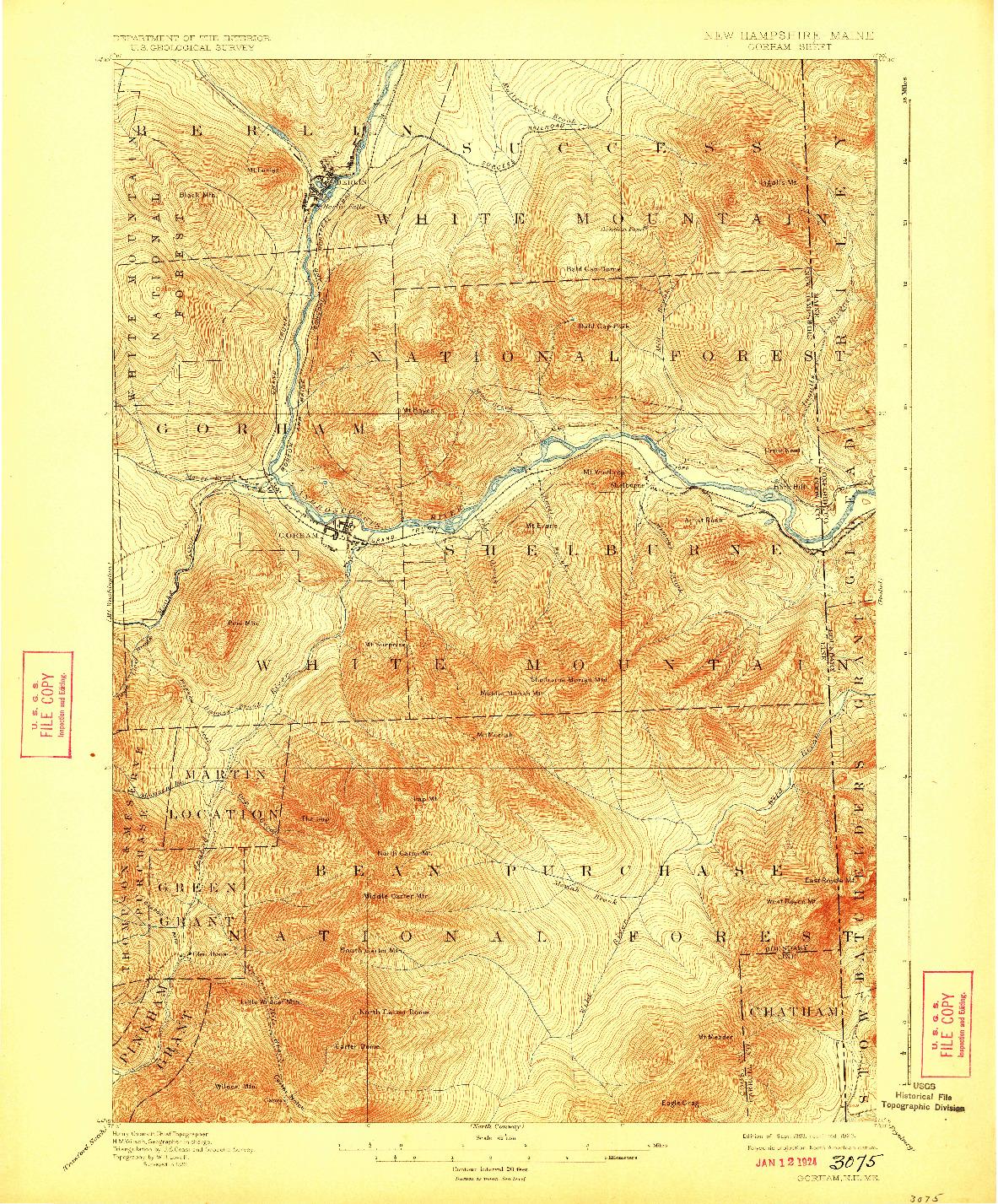 USGS 1:62500-SCALE QUADRANGLE FOR GORHAM, NH 1893