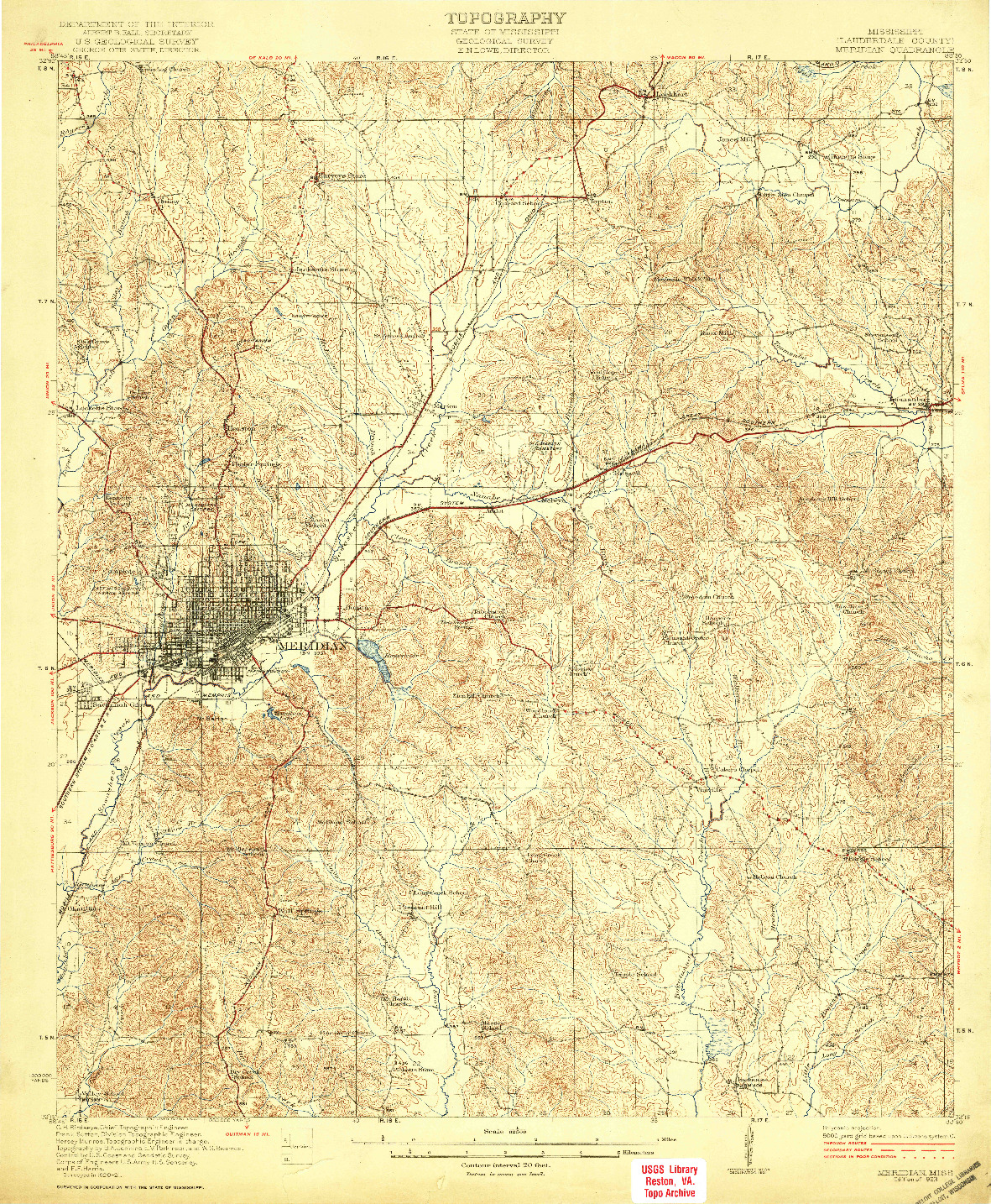 USGS 1:62500-SCALE QUADRANGLE FOR MERIDIAN, MS 1923