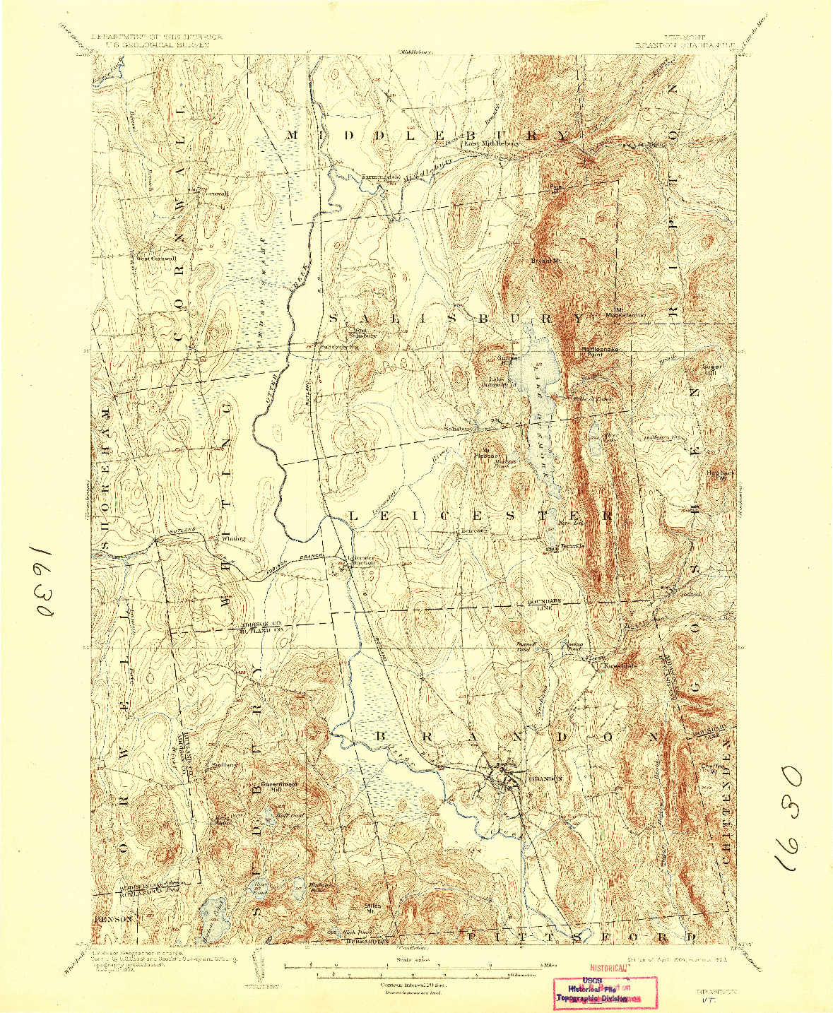 USGS 1:62500-SCALE QUADRANGLE FOR BRANDON, VT 1904