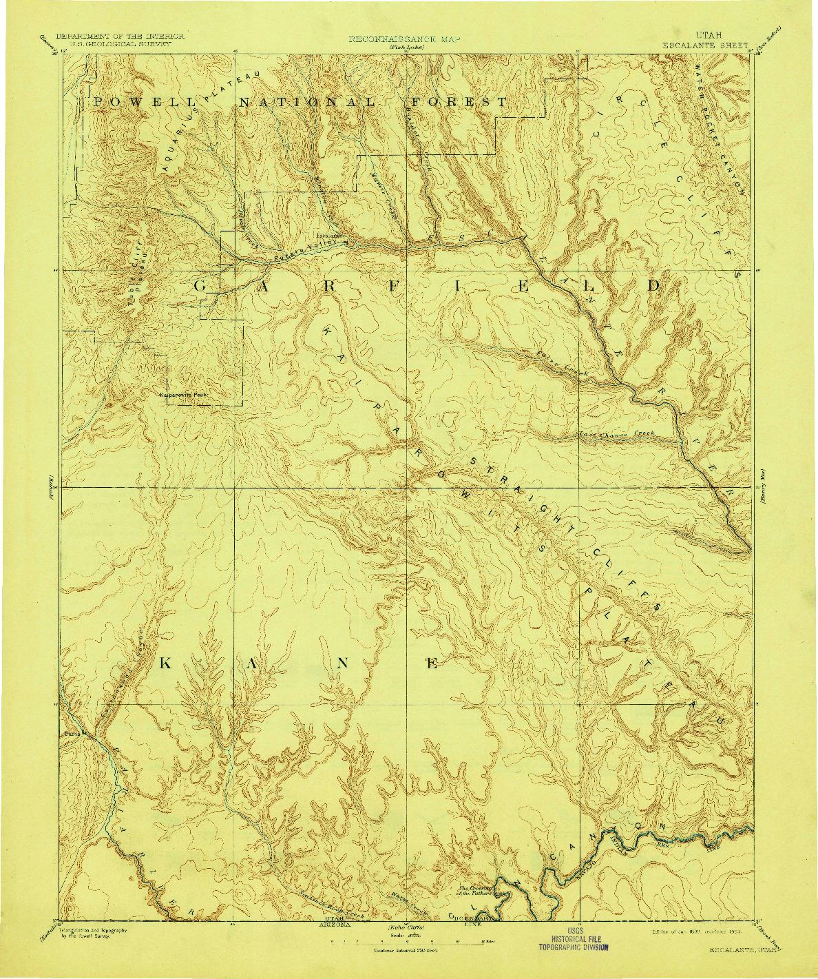 USGS 1:250000-SCALE QUADRANGLE FOR ESCALANTE, UT 1886