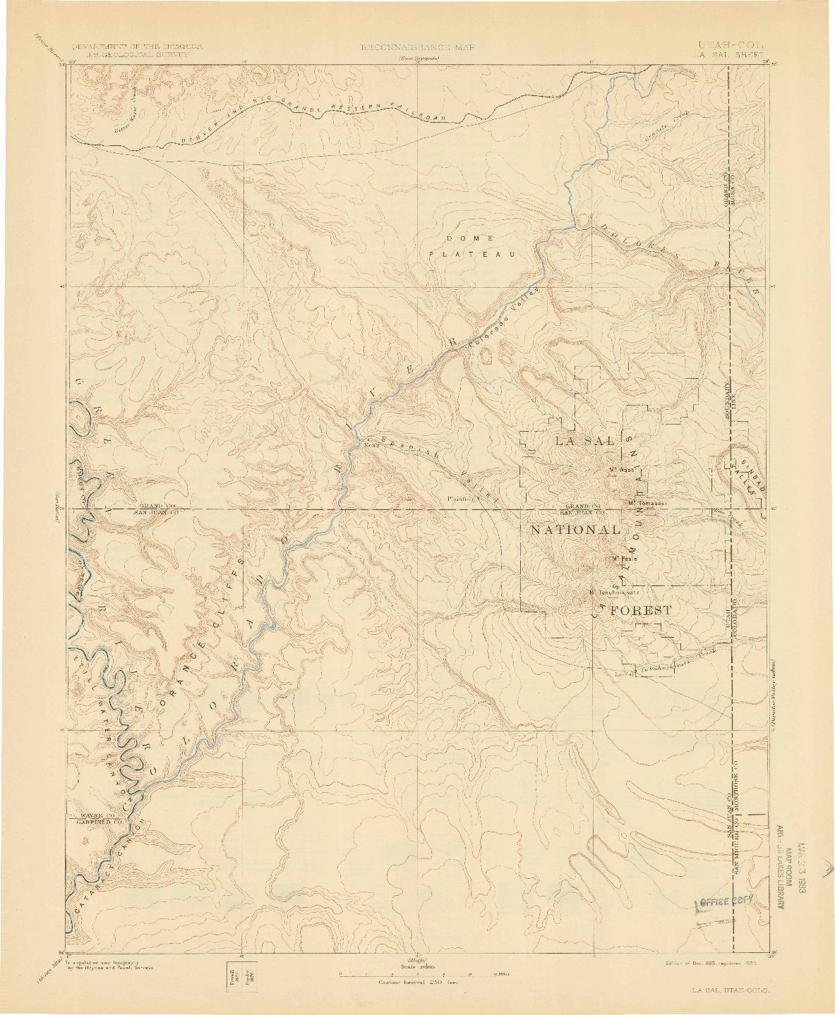 USGS 1:250000-SCALE QUADRANGLE FOR LA SAL, UT 1885