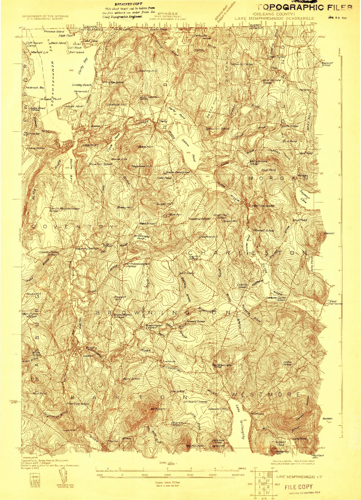 USGS 1:48000-SCALE QUADRANGLE FOR LAKE MEMPHREMAGOG, VT 1923