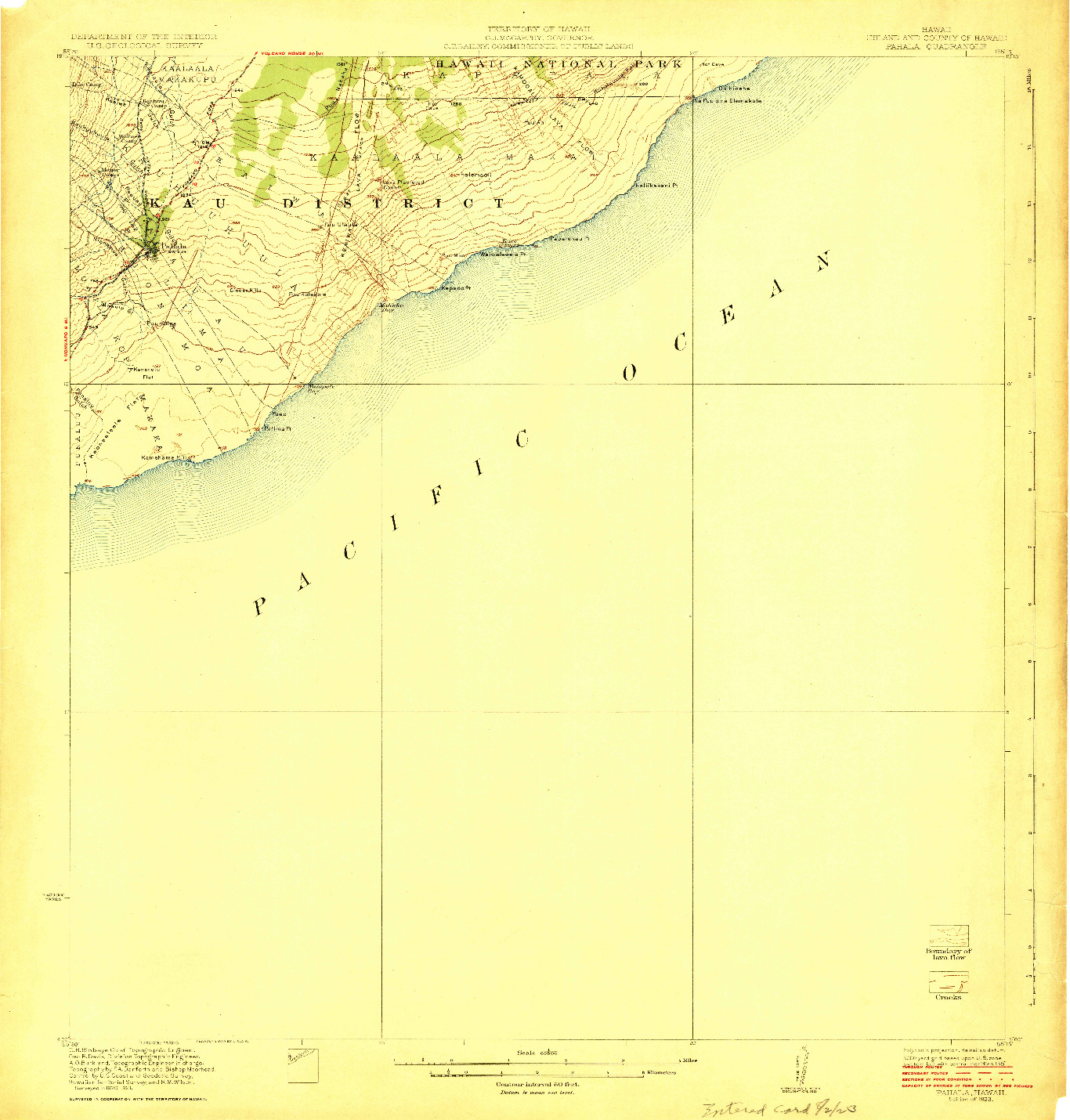 USGS 1:62500-SCALE QUADRANGLE FOR PAHALA, HI 1923