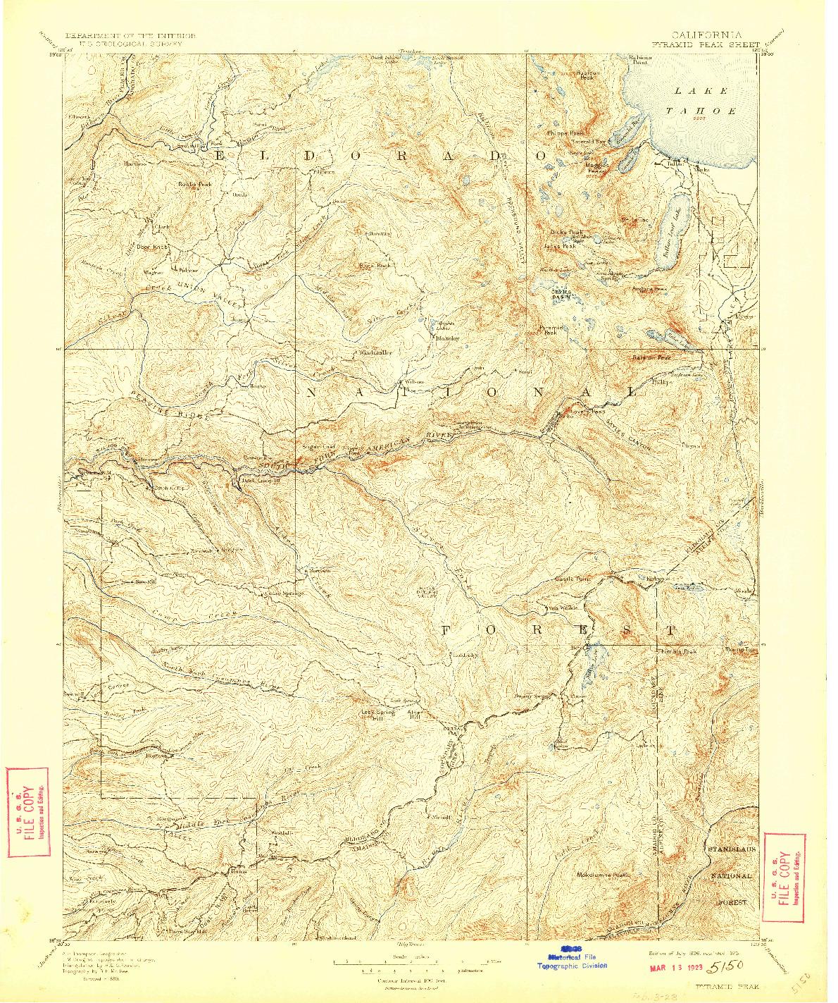 USGS 1:125000-SCALE QUADRANGLE FOR PYRAMID PEAK, CA 1896