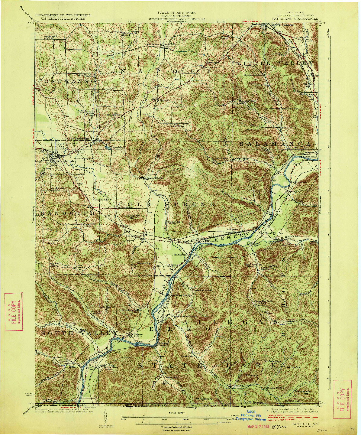 USGS 1:62500-SCALE QUADRANGLE FOR RANDOLPH, NY 1923