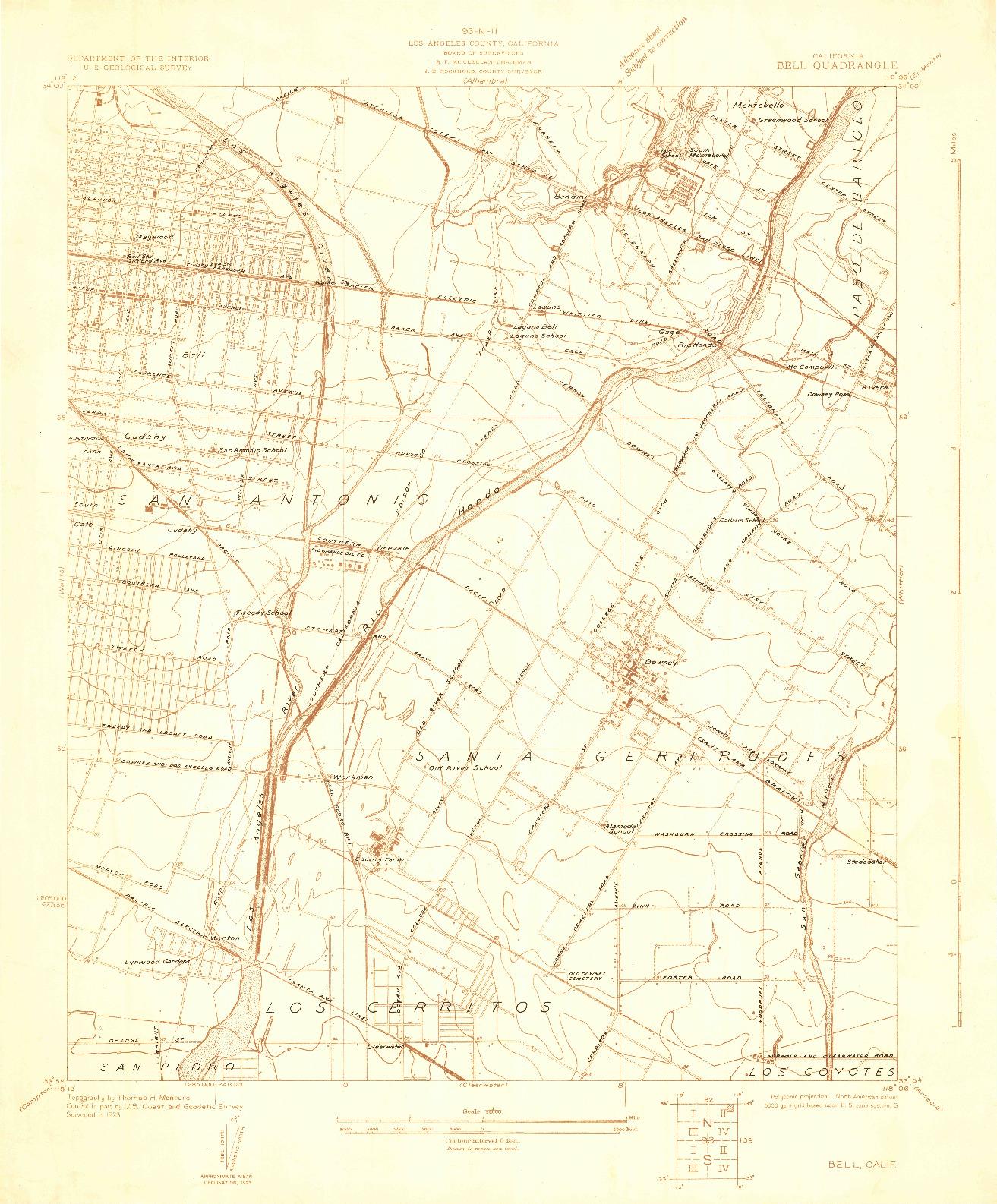USGS 1:24000-SCALE QUADRANGLE FOR BELL, CA 1923