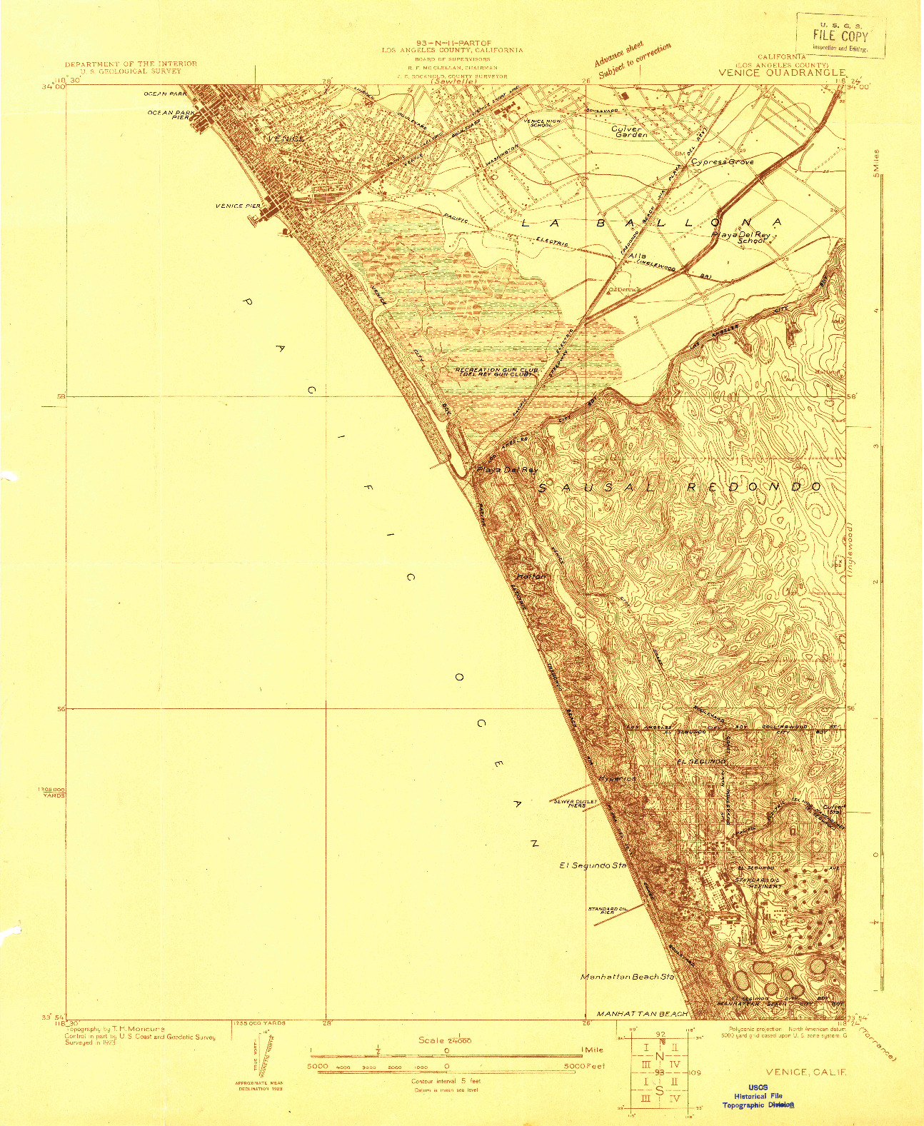 USGS 1:24000-SCALE QUADRANGLE FOR VENICE, CA 1923
