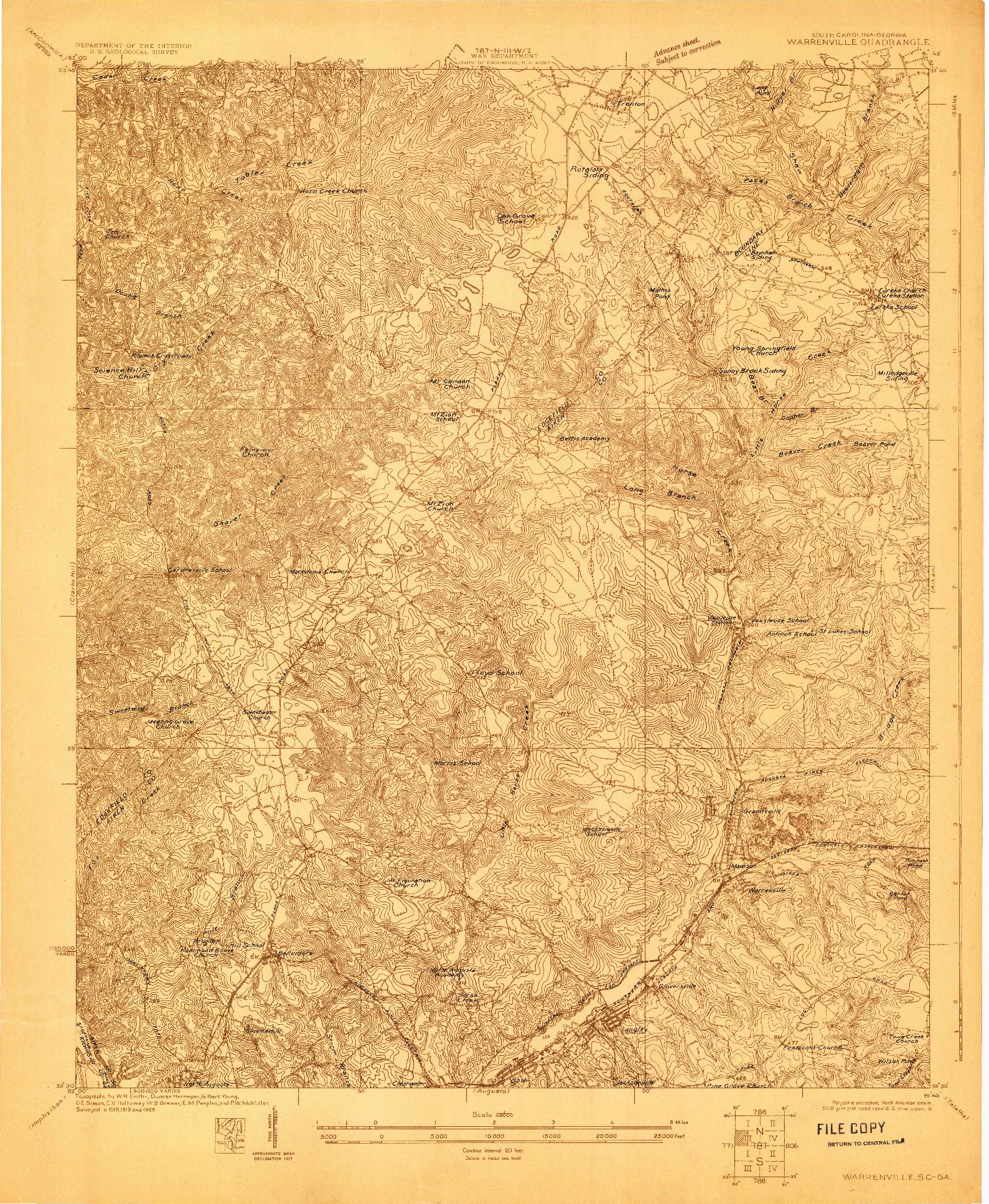 USGS 1:48000-SCALE QUADRANGLE FOR WARRENVILLE, SC 1923