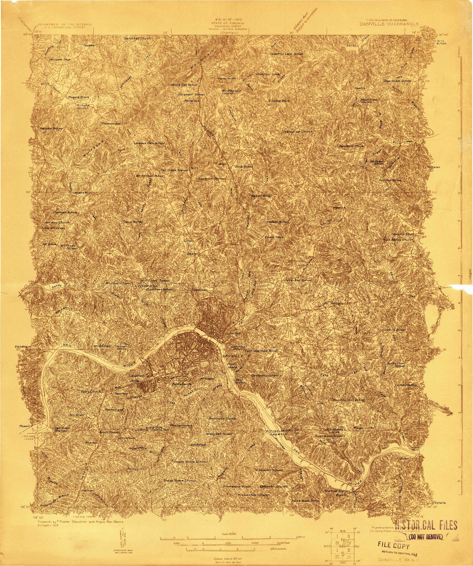 USGS 1:48000-SCALE QUADRANGLE FOR DANVILLE, VA 1923