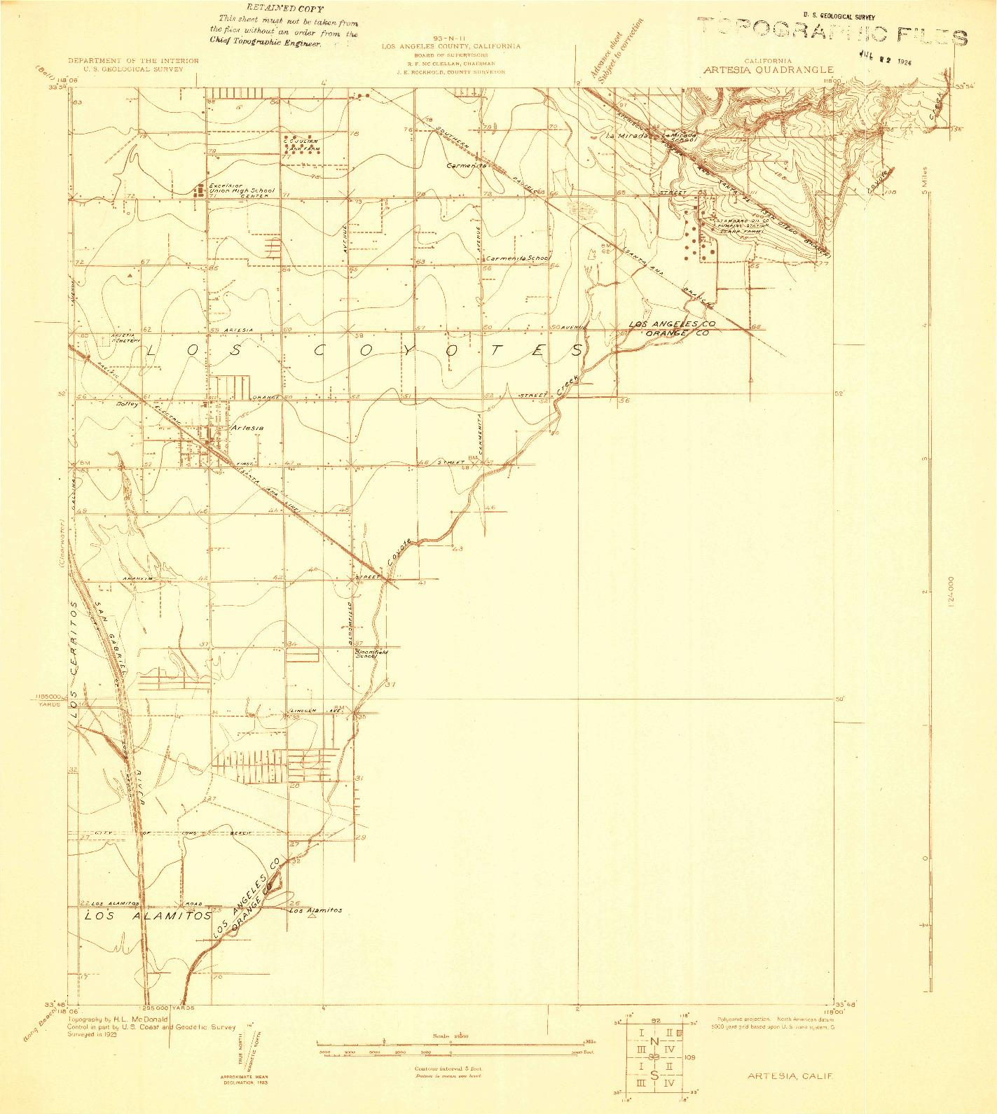 USGS 1:24000-SCALE QUADRANGLE FOR ARTESIA, CA 1923