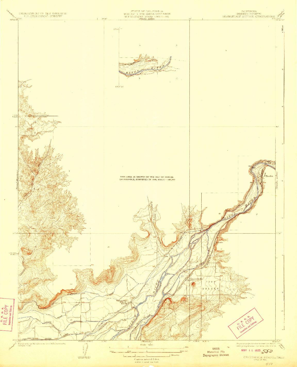 USGS 1:31680-SCALE QUADRANGLE FOR ORANGEDALE SCHOOL, CA 1923
