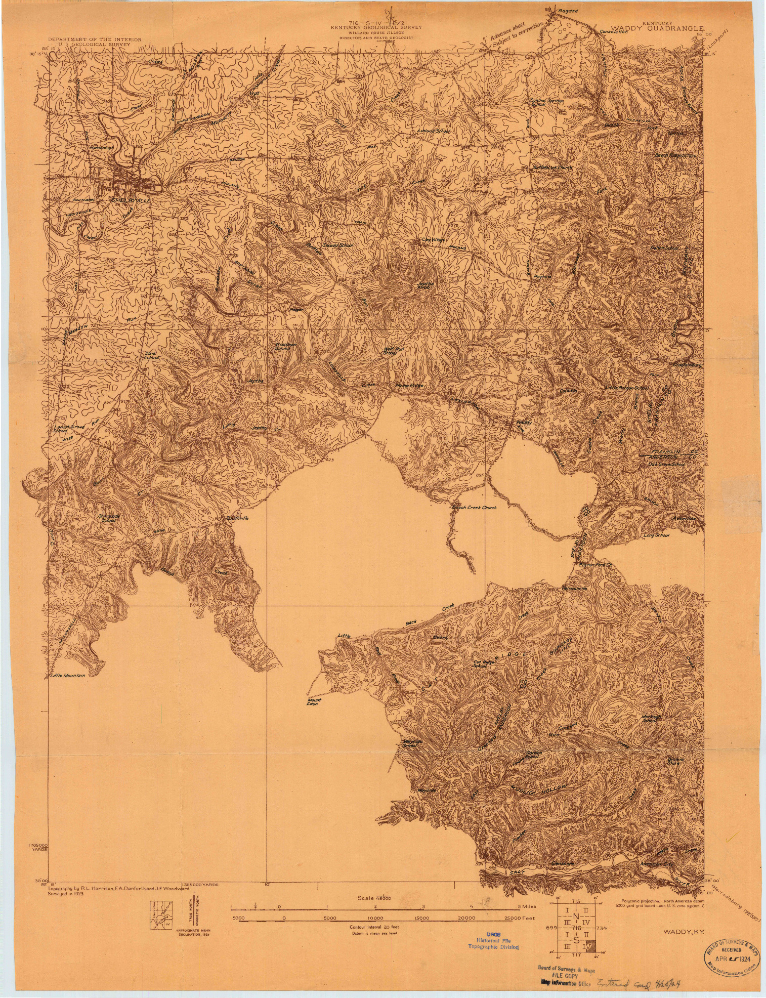 USGS 1:48000-SCALE QUADRANGLE FOR WADDY, KY 1923