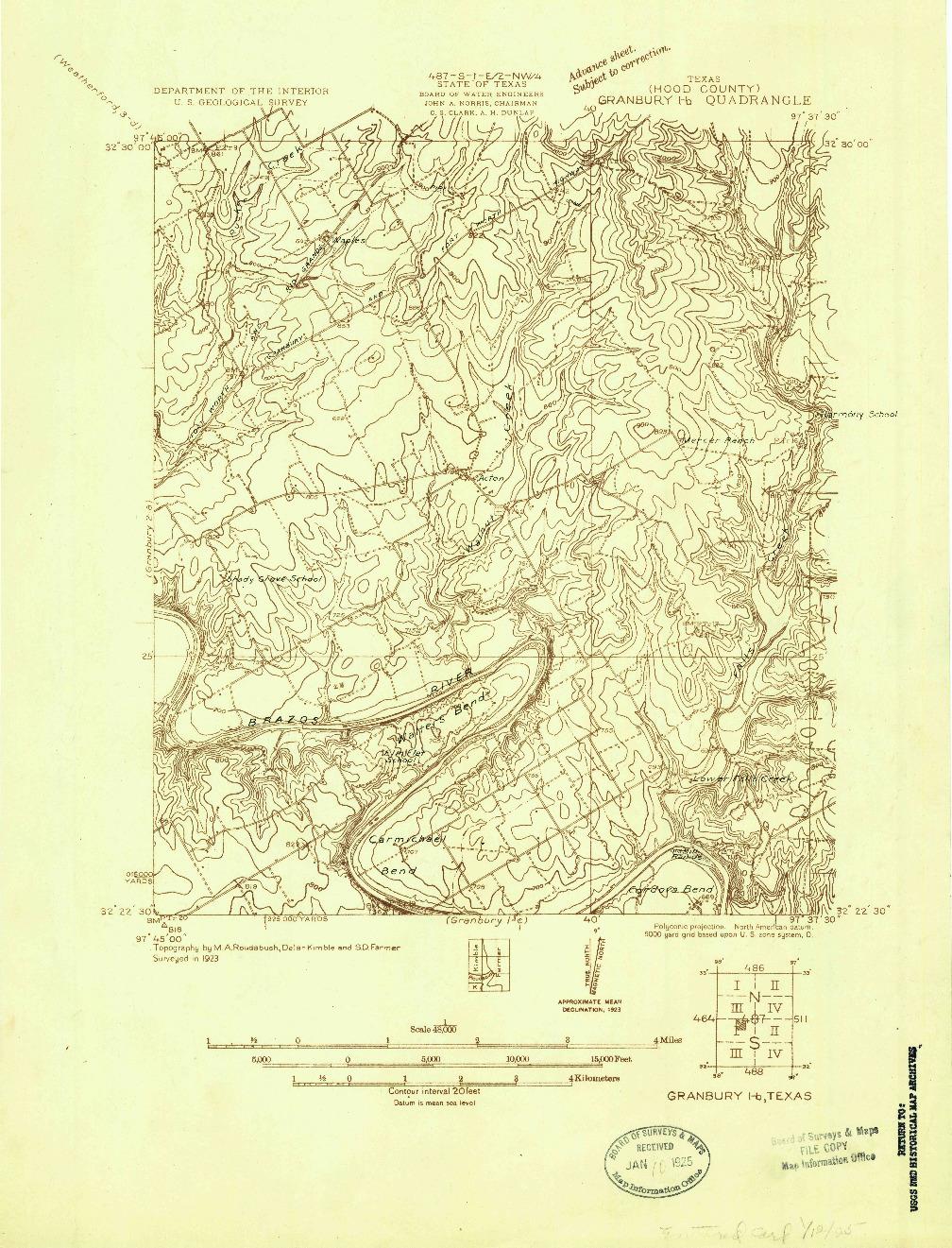 USGS 1:48000-SCALE QUADRANGLE FOR GRANBURY 1-B, TX 1923