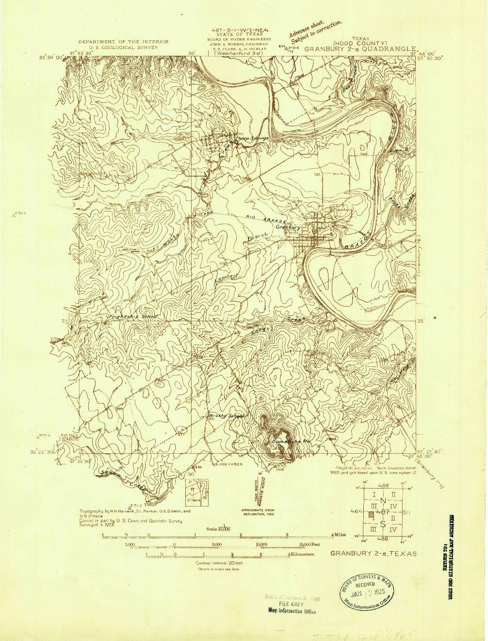 USGS 1:48000-SCALE QUADRANGLE FOR GRANBURY 2-A, TX 1923
