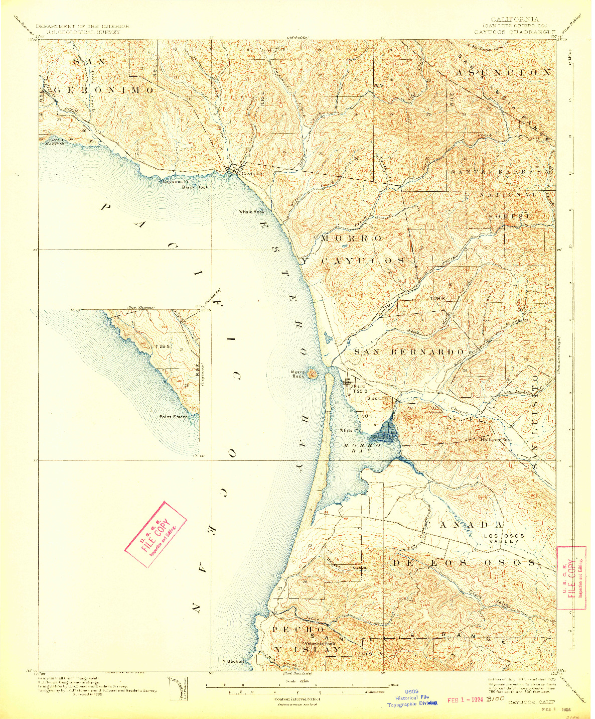 USGS 1:62500-SCALE QUADRANGLE FOR CAYUCOS, CA 1897