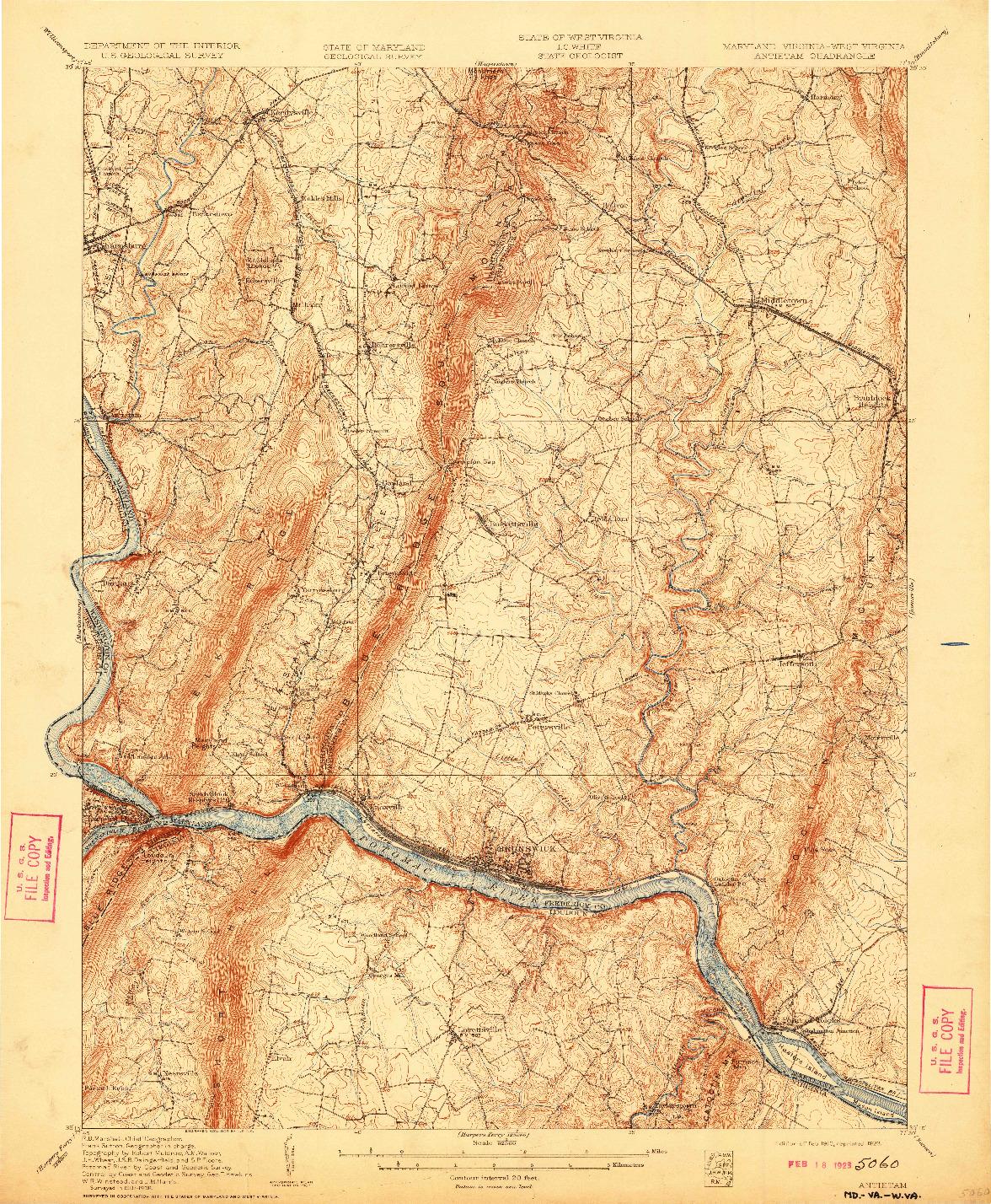 USGS 1:62500-SCALE QUADRANGLE FOR ANTIETAM, MD 1910