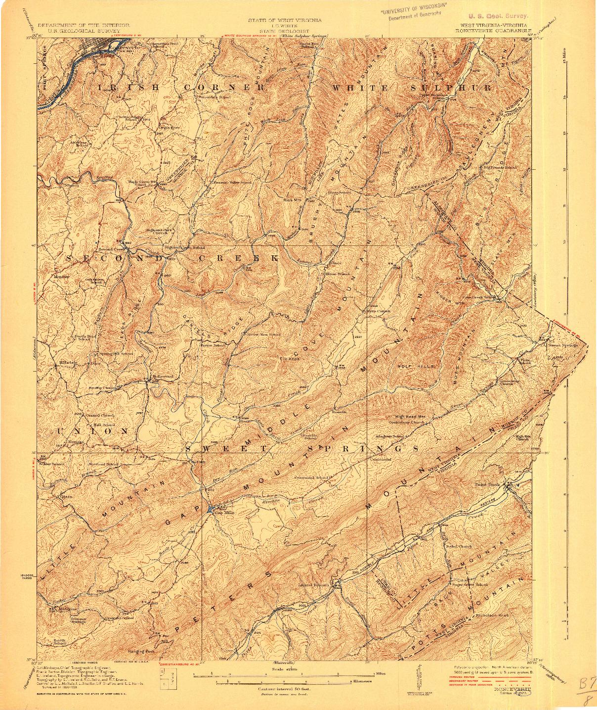 USGS 1:62500-SCALE QUADRANGLE FOR RONCEVERTE, WV 1923
