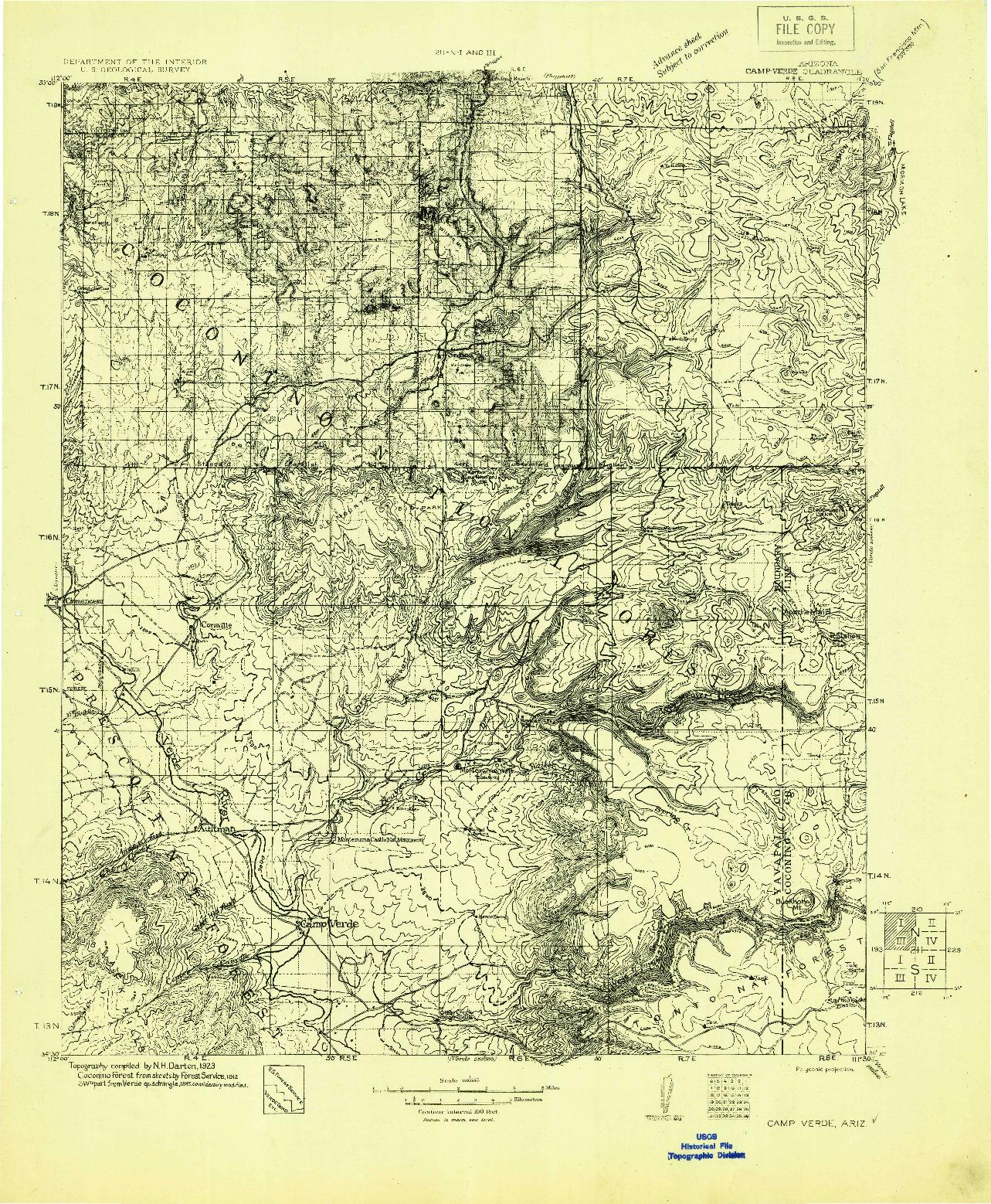 USGS 1:125000-SCALE QUADRANGLE FOR CAMP VERDE, AZ 1923