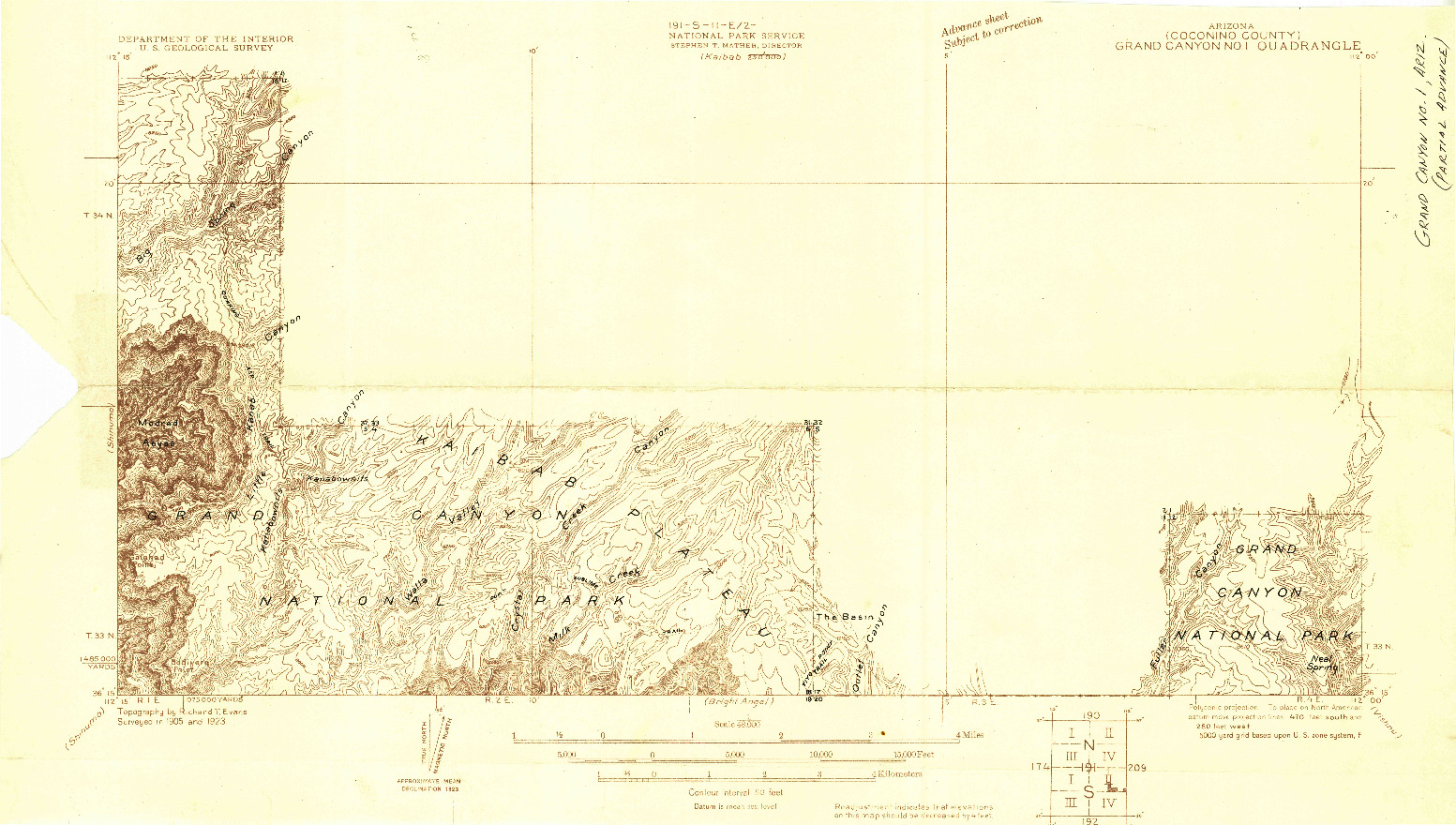 USGS 1:48000-SCALE QUADRANGLE FOR GRAND CANYON NO 1, AZ 1923