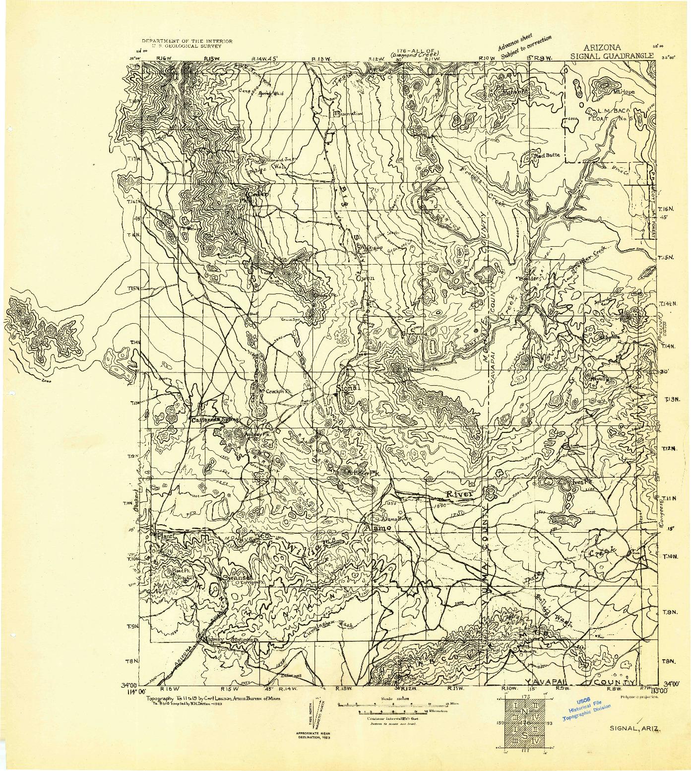 USGS 1:250000-SCALE QUADRANGLE FOR SIGNAL, AZ 1923