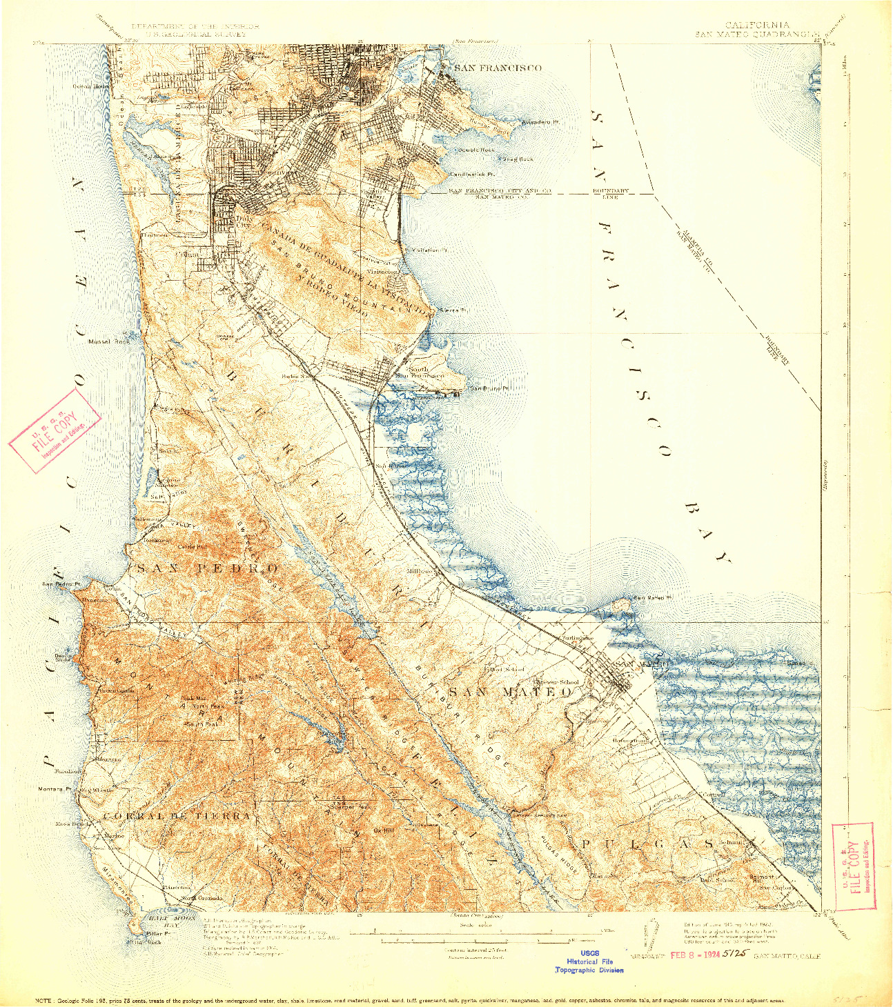 USGS 1:62500-SCALE QUADRANGLE FOR SAN MATEO, CA 1915