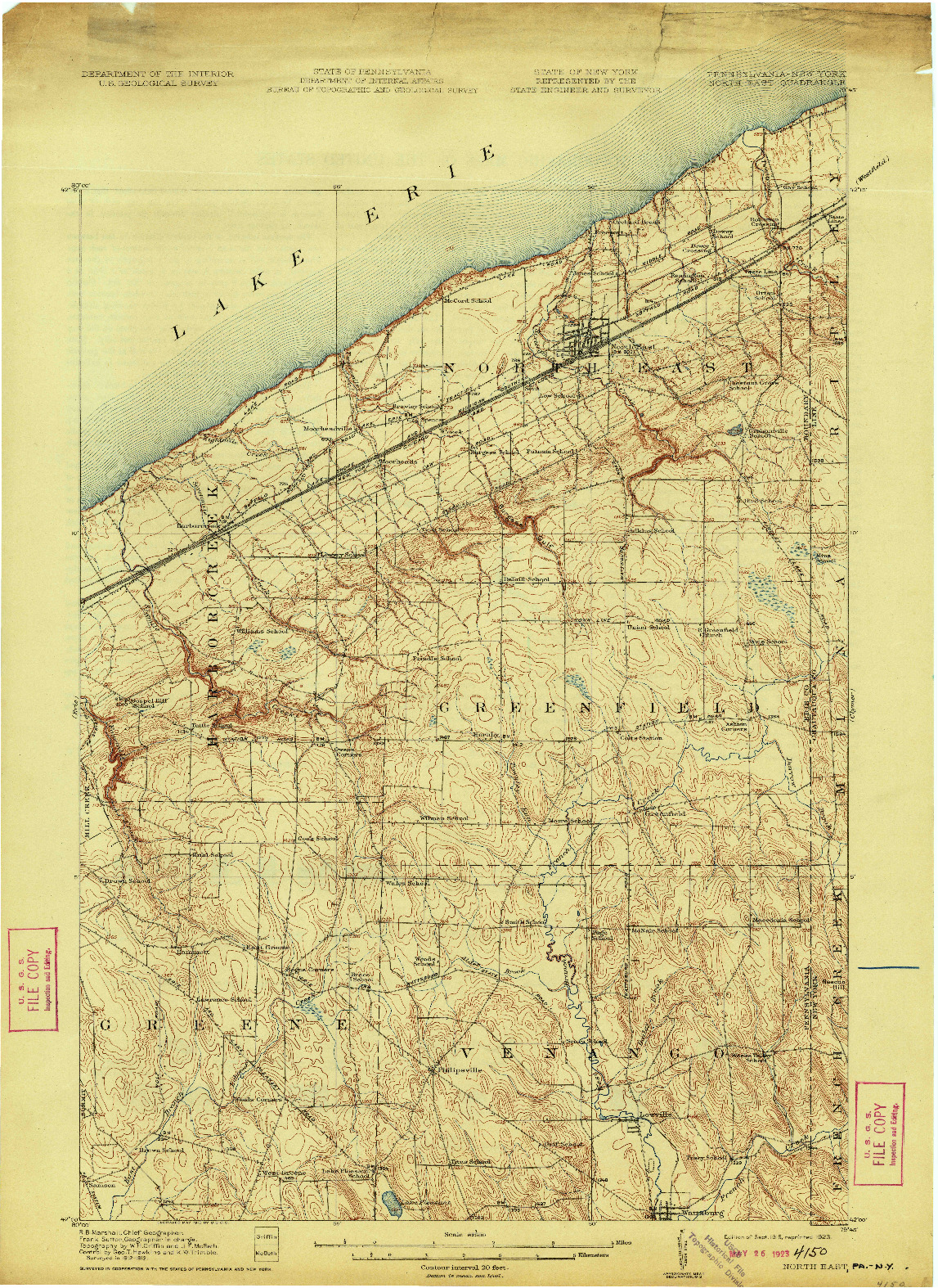 USGS 1:62500-SCALE QUADRANGLE FOR NORTH EAST, PA 1915