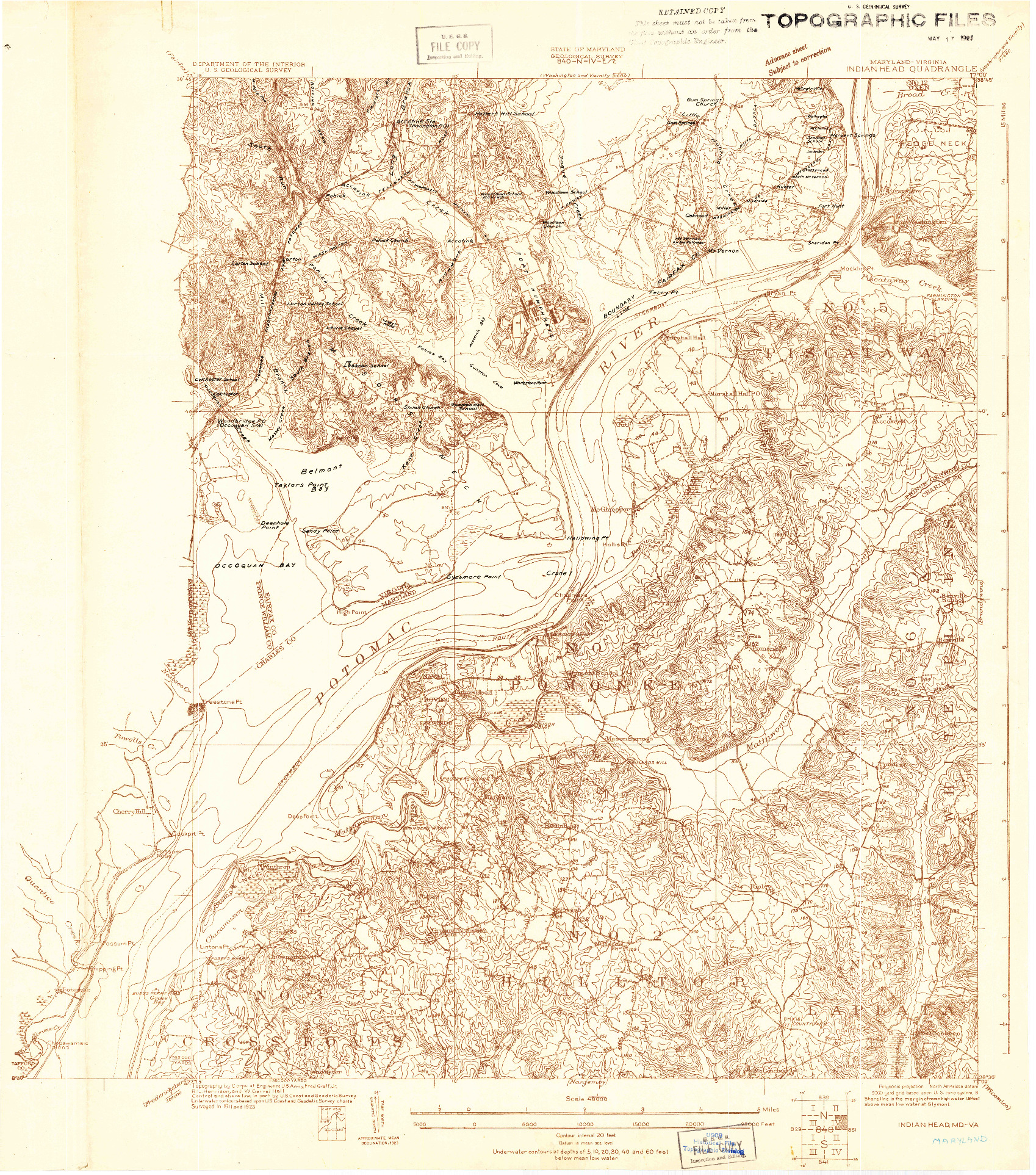 USGS 1:48000-SCALE QUADRANGLE FOR INDIAN HEAD, MD 1923