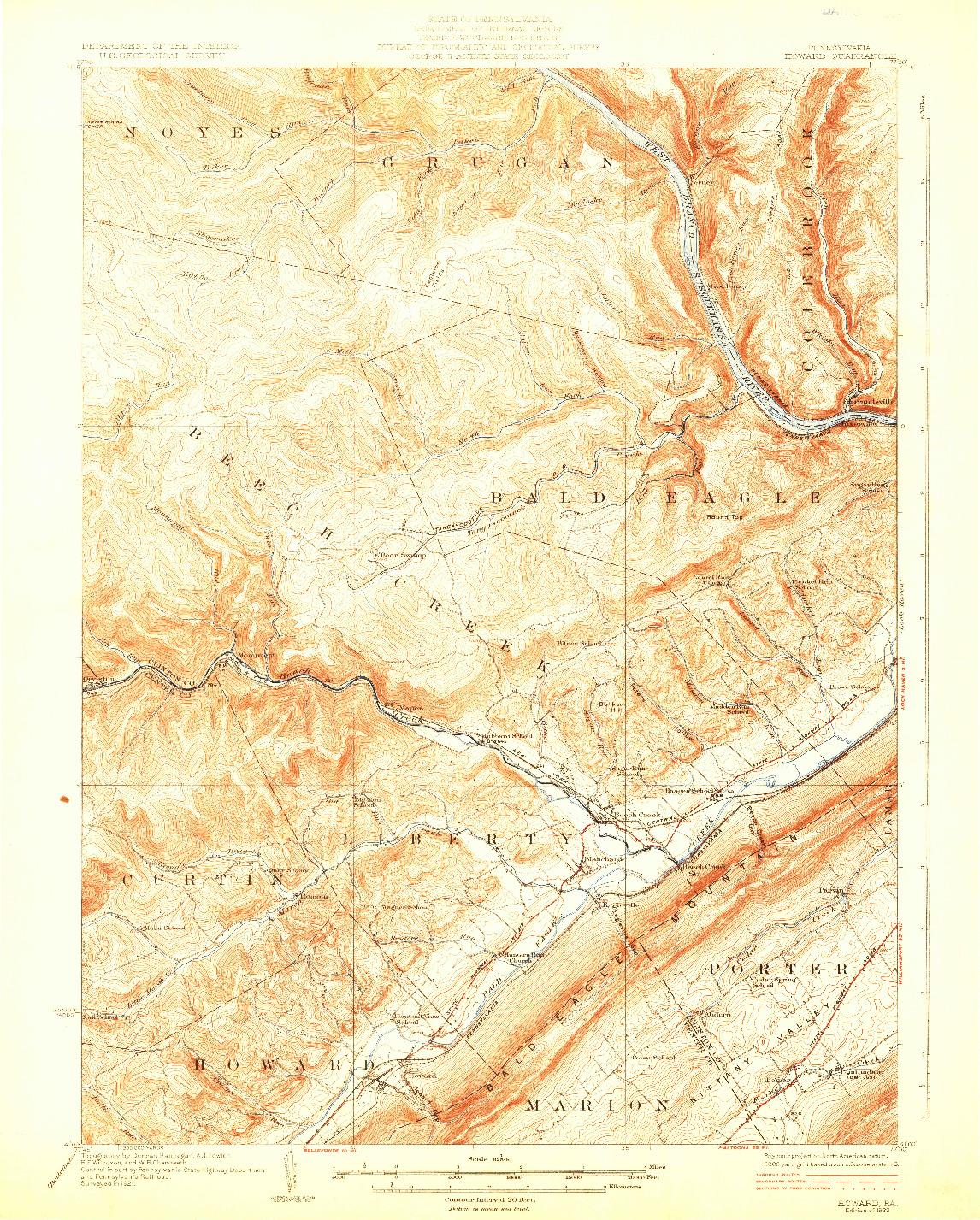 USGS 1:62500-SCALE QUADRANGLE FOR HOWARD, PA 1923