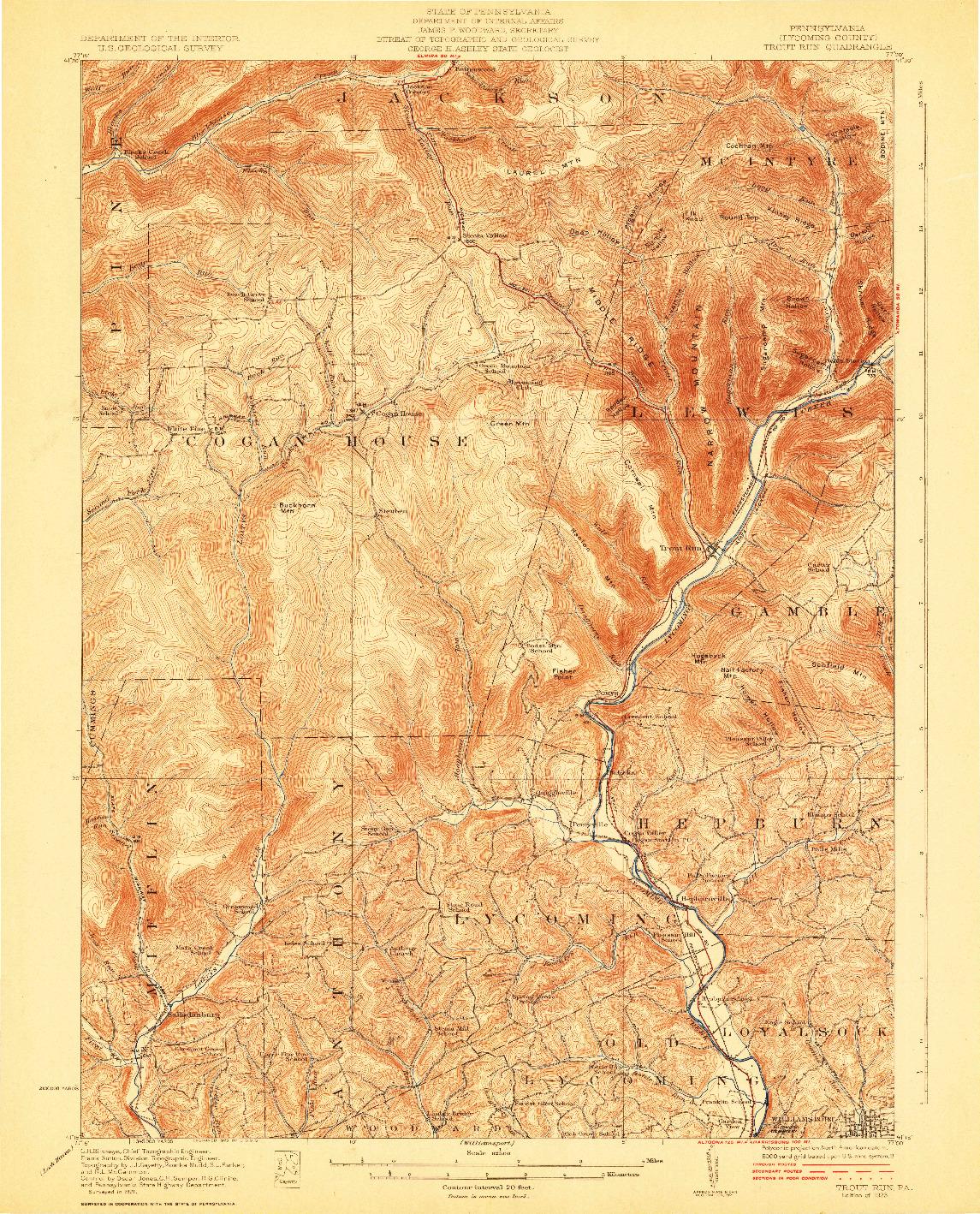USGS 1:62500-SCALE QUADRANGLE FOR TROUT RUN, PA 1923