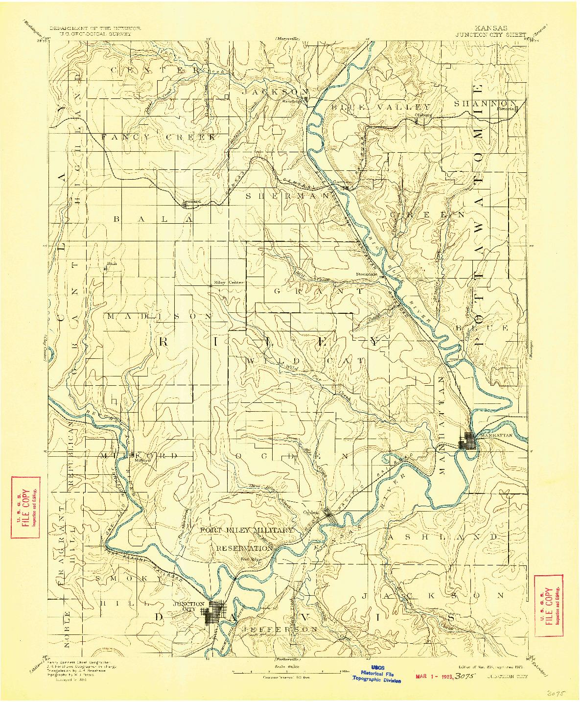 USGS 1:125000-SCALE QUADRANGLE FOR JUNCTION CITY, KS 1894