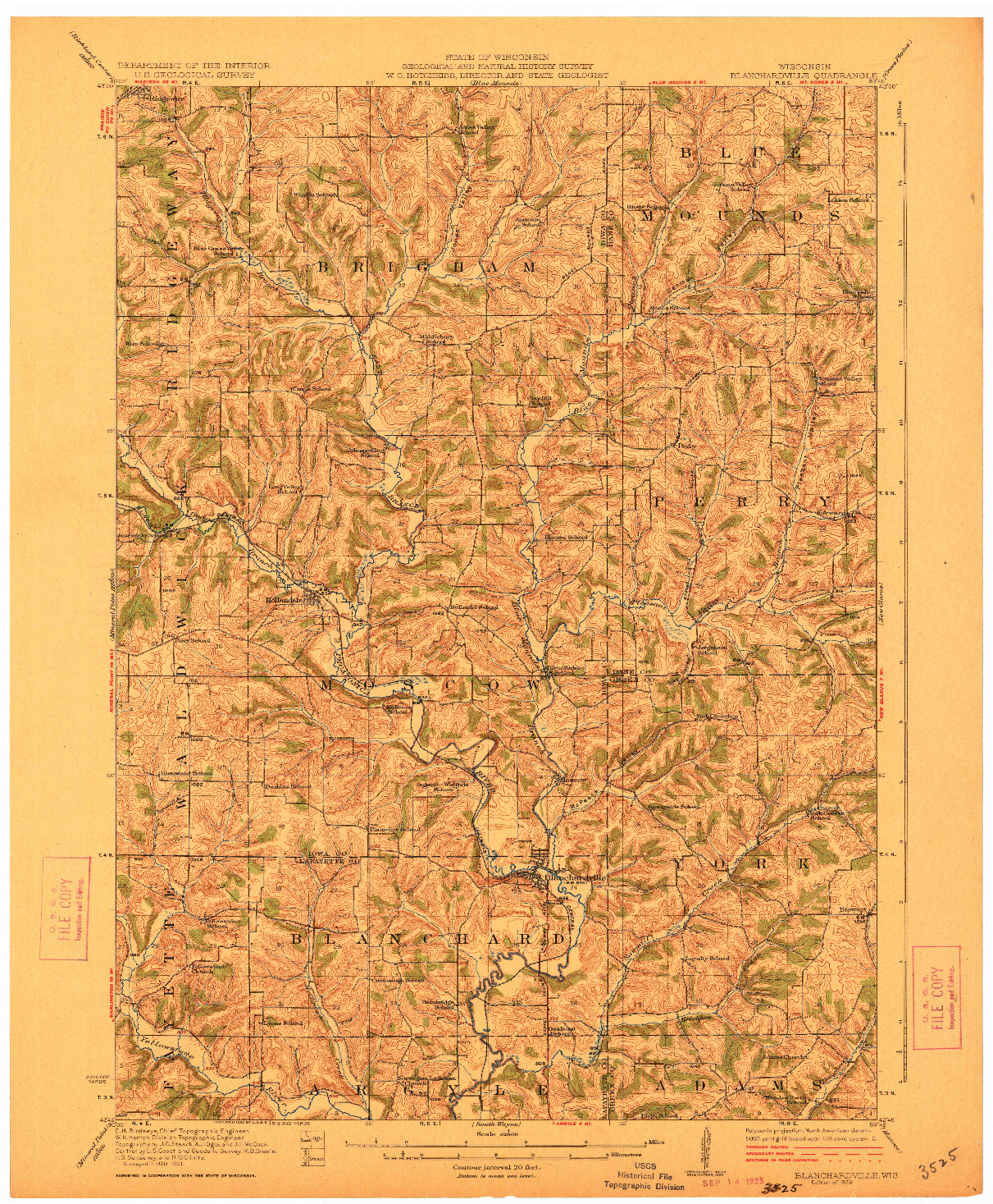 USGS 1:62500-SCALE QUADRANGLE FOR BLANCHARDVILLE, WI 1923