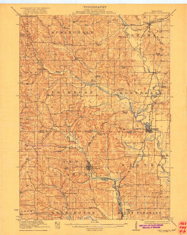 USGS 1:62500-SCALE QUADRANGLE FOR NEW GLARUS, WI 1923