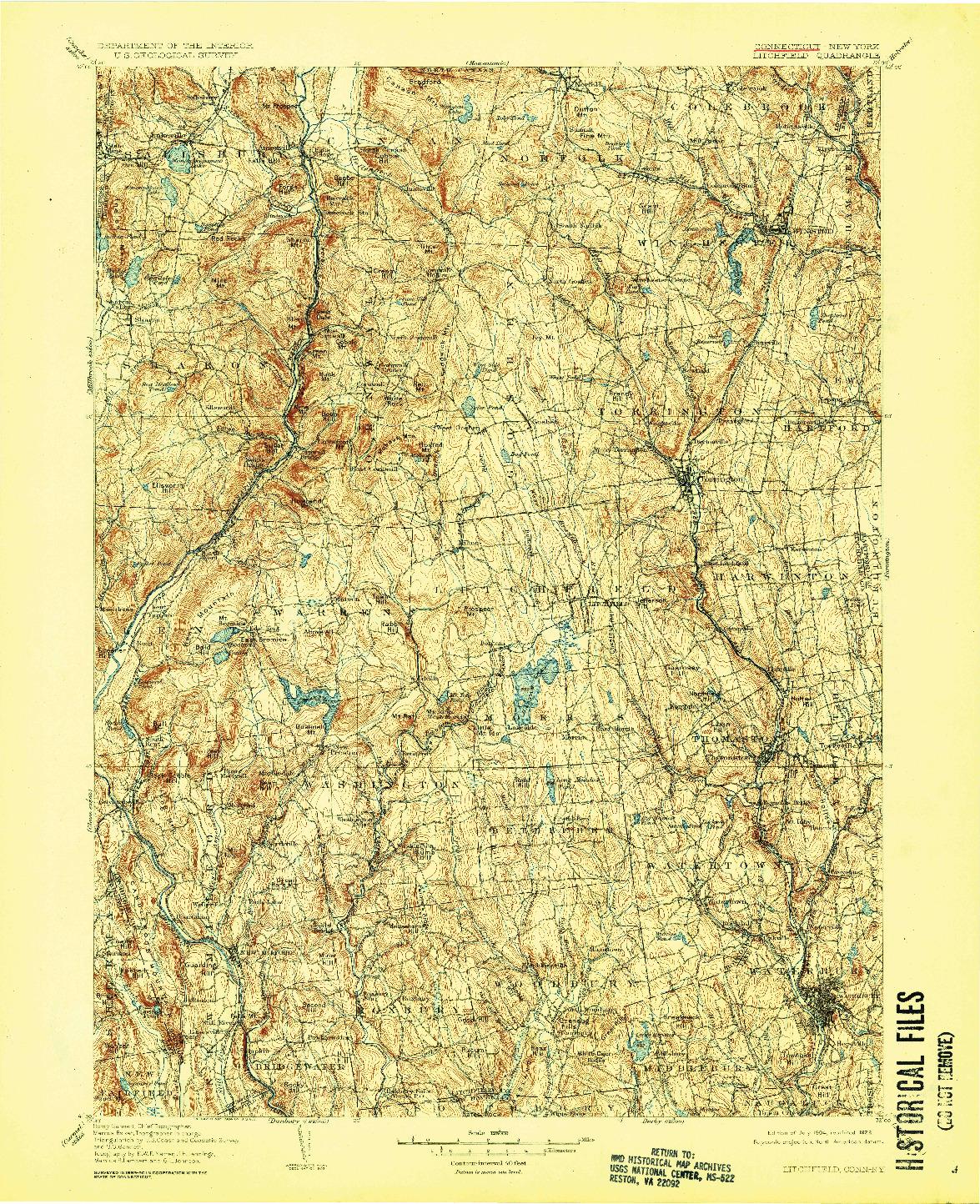 USGS 1:125000-SCALE QUADRANGLE FOR LITCHFIELD, CT 1904