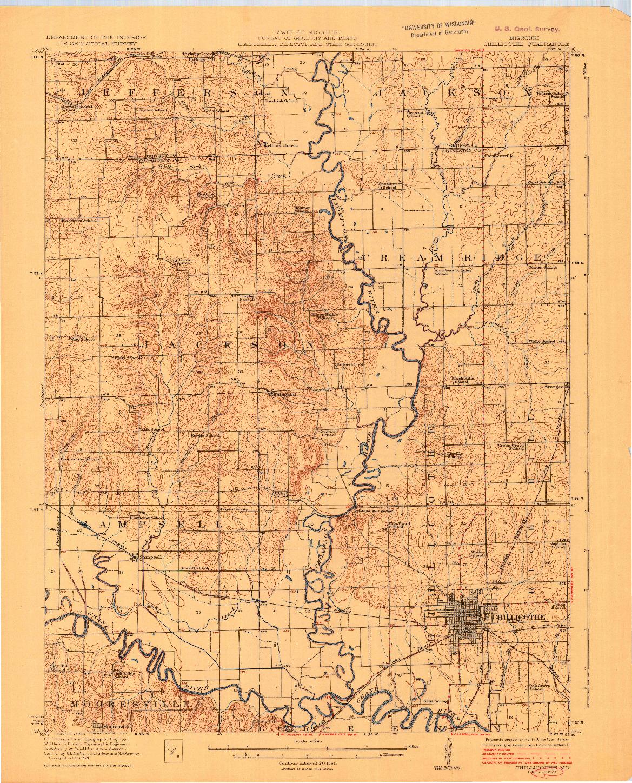 USGS 1:62500-SCALE QUADRANGLE FOR CHILLICOTHE, MO 1923