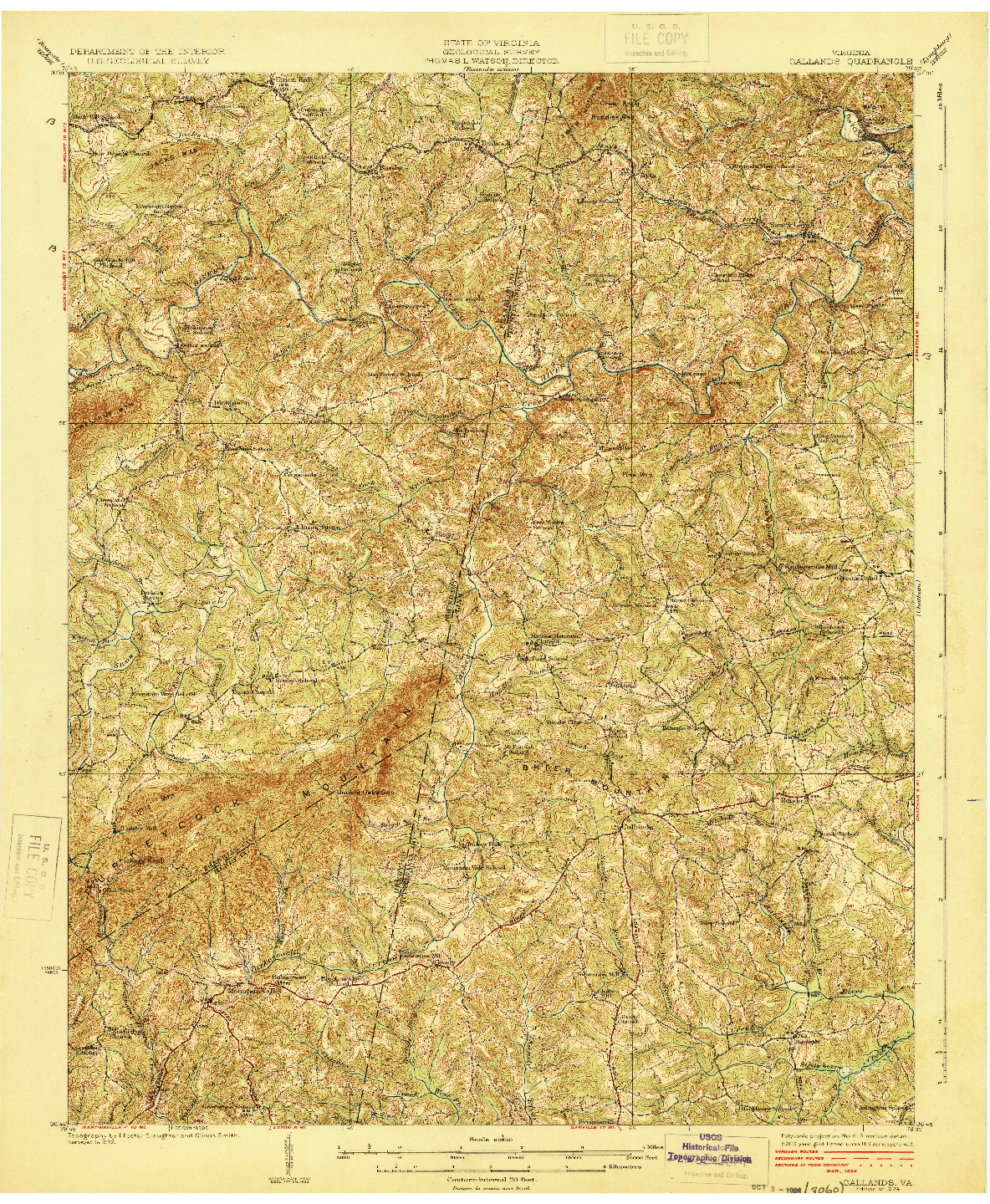 USGS 1:62500-SCALE QUADRANGLE FOR CALLANDS, VA 1924