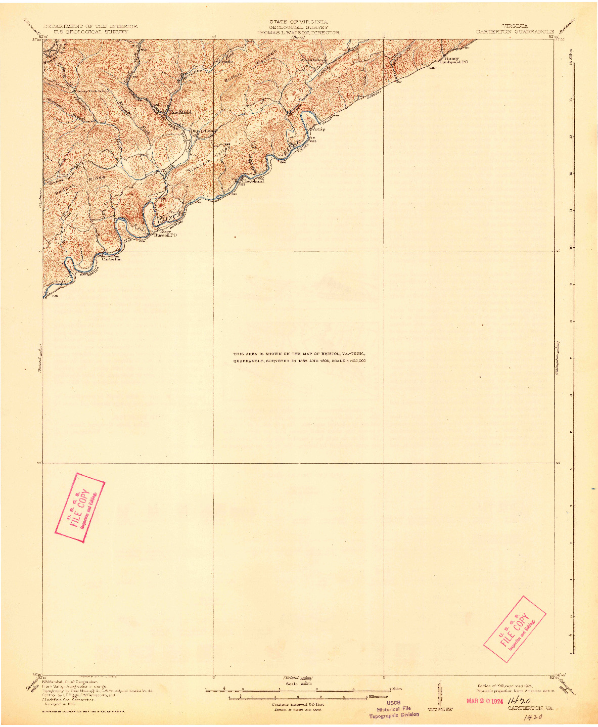 USGS 1:62500-SCALE QUADRANGLE FOR CARTERTON, VA 1918