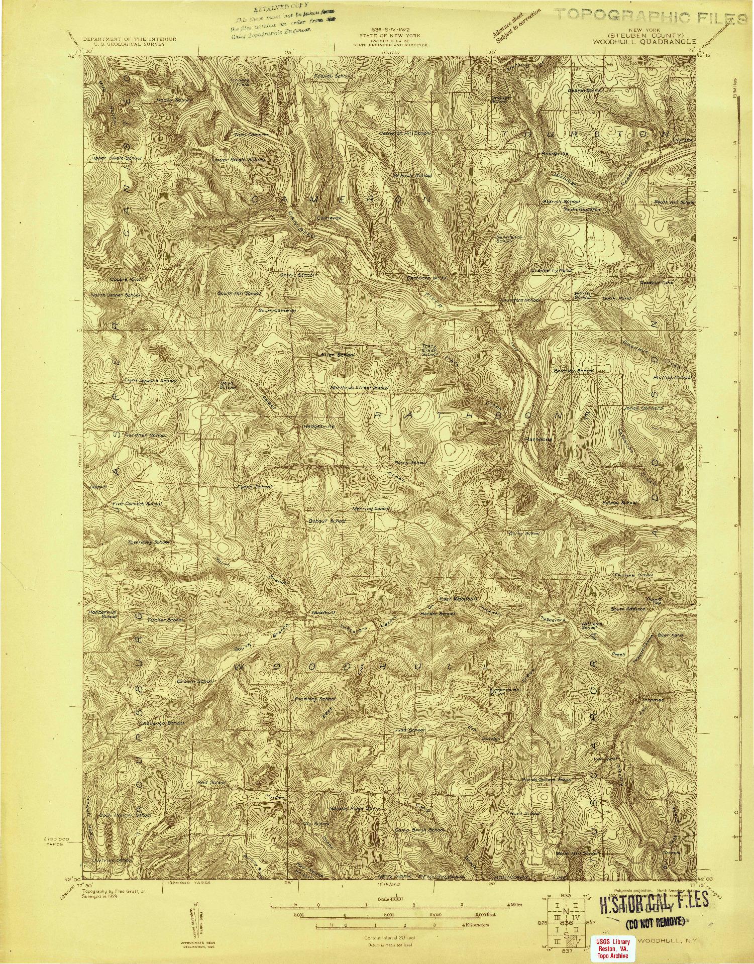 USGS 1:48000-SCALE QUADRANGLE FOR WOODHULL, PA 1924