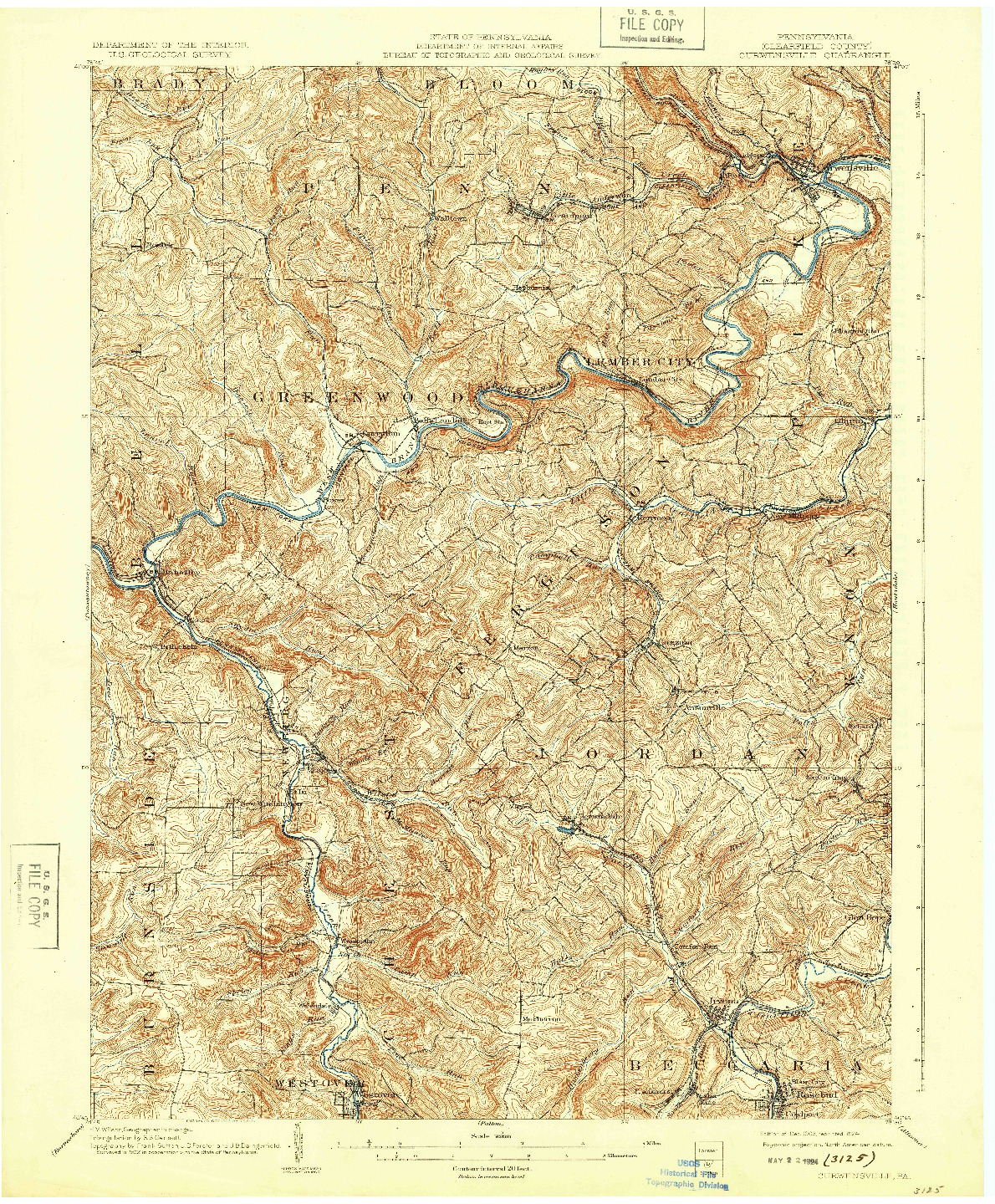 USGS 1:62500-SCALE QUADRANGLE FOR CURWENSVILLE, PA 1903